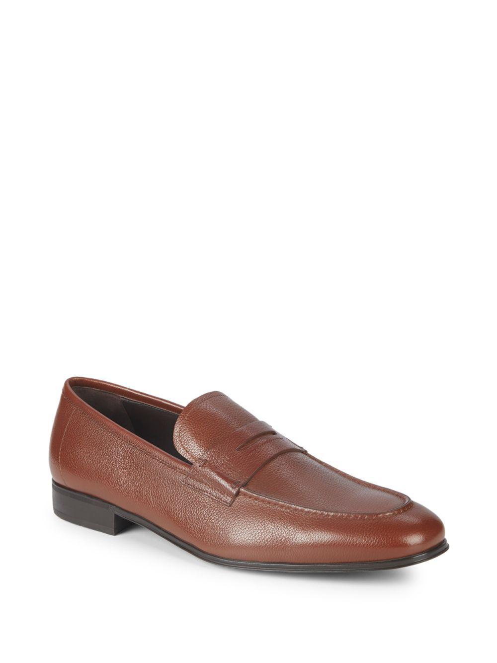 Lyst Ferragamo Fiorino Leather Penny Loafers In Brown For Men