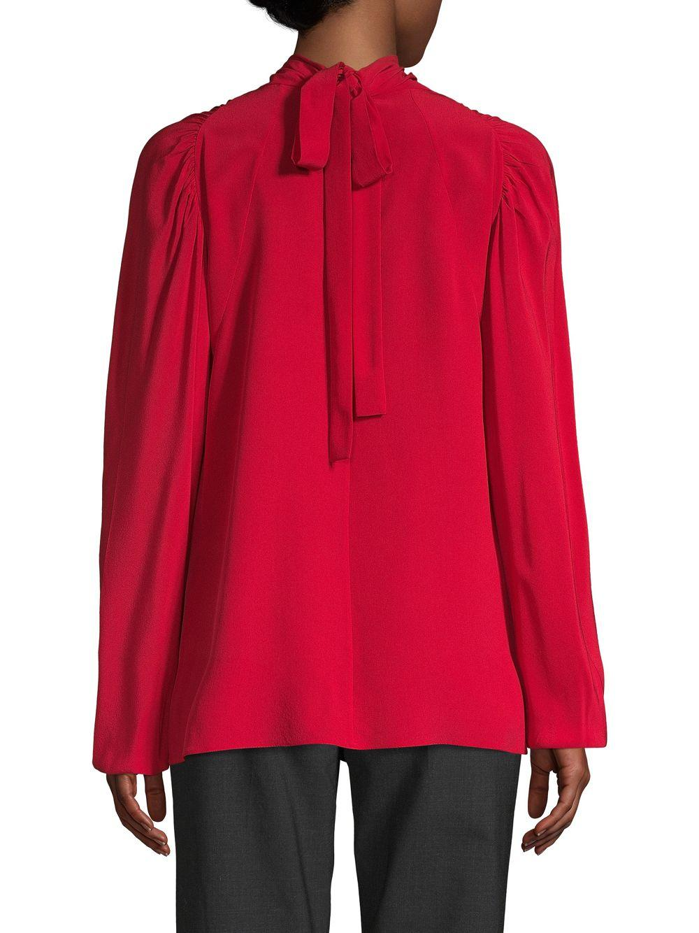 b2a2b1e6255a9e Prada - Red Bow-back Silk Blouse - Lyst. View fullscreen