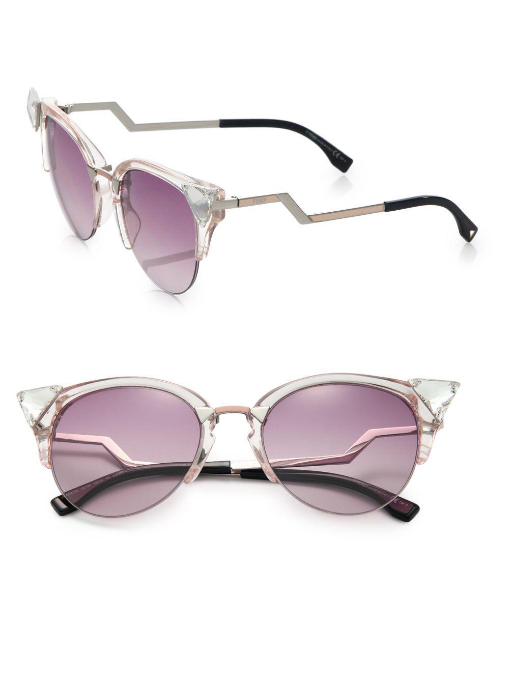 f8f4225d4c4 Lyst - Fendi Edged Zig-zag Optyl Cat s-eye Sunglasses in Pink