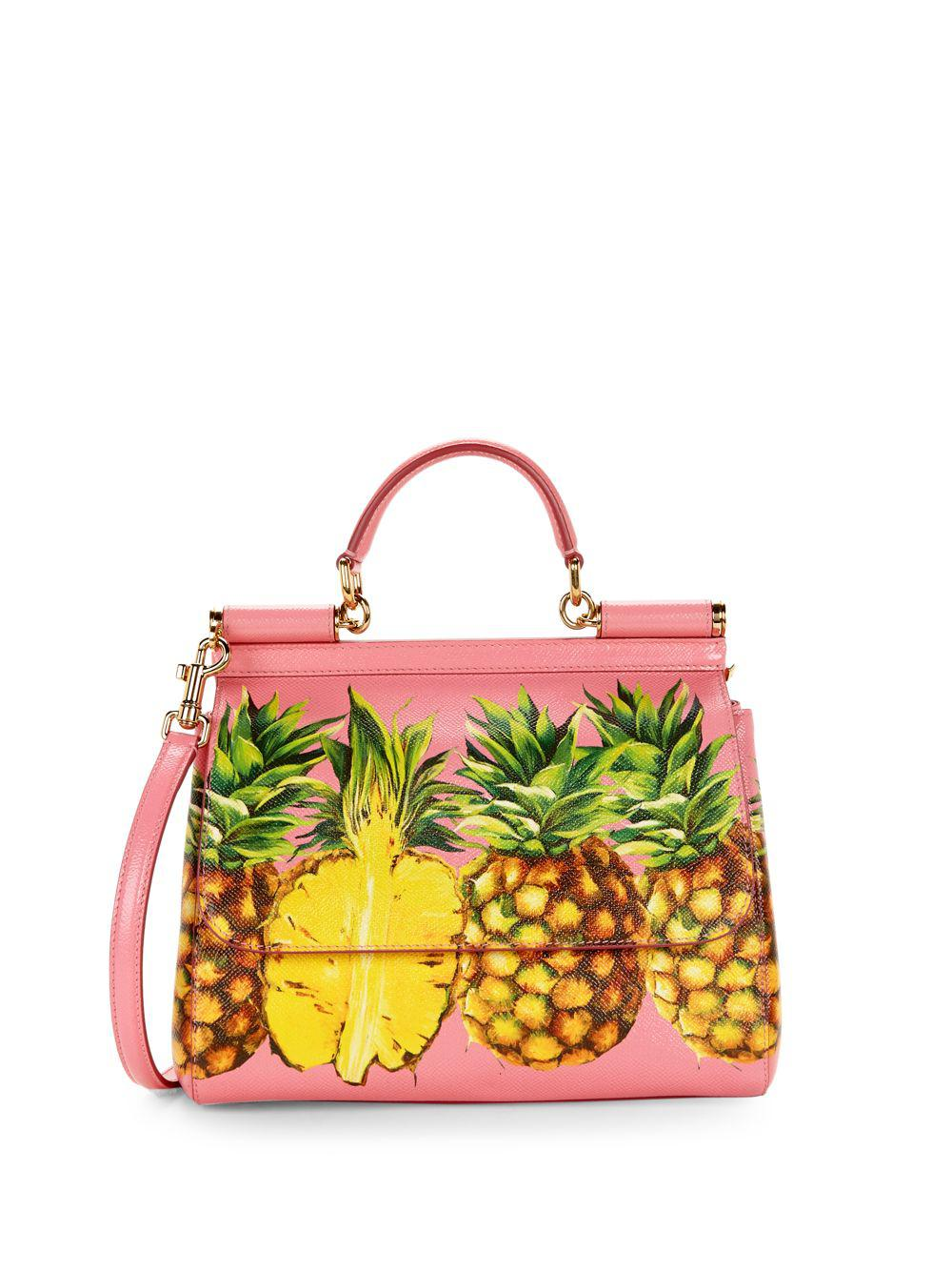 73e4a2742d Dolce & Gabbana Pineapple Print Leather Top Handle Bag - Lyst