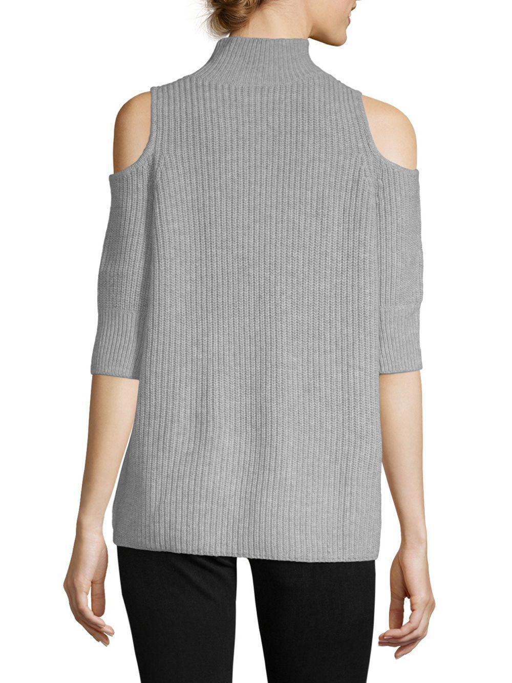 54e3dde8977 Zoe Jordan - Gray Turtleneck Cold-shoulder Sweater - Lyst. View fullscreen