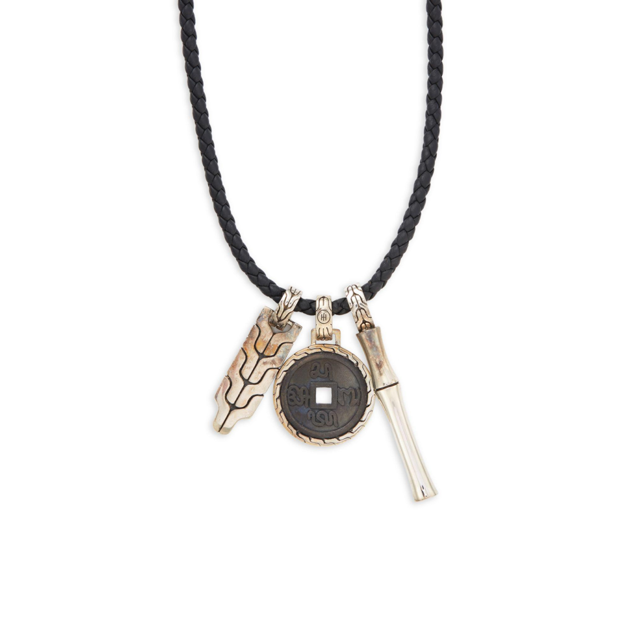 John Hardy Leather Sterling Silver Bamboo Pendant Necklace in Black for Men - Save 38%