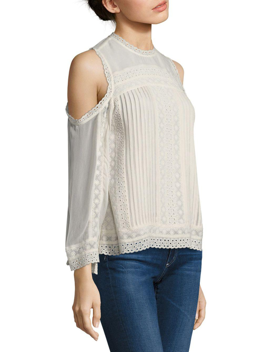 6bc0a9678cb31 Lyst - Alice + Olivia Ofelia Embroidered Cold-shoulder Blouse in White