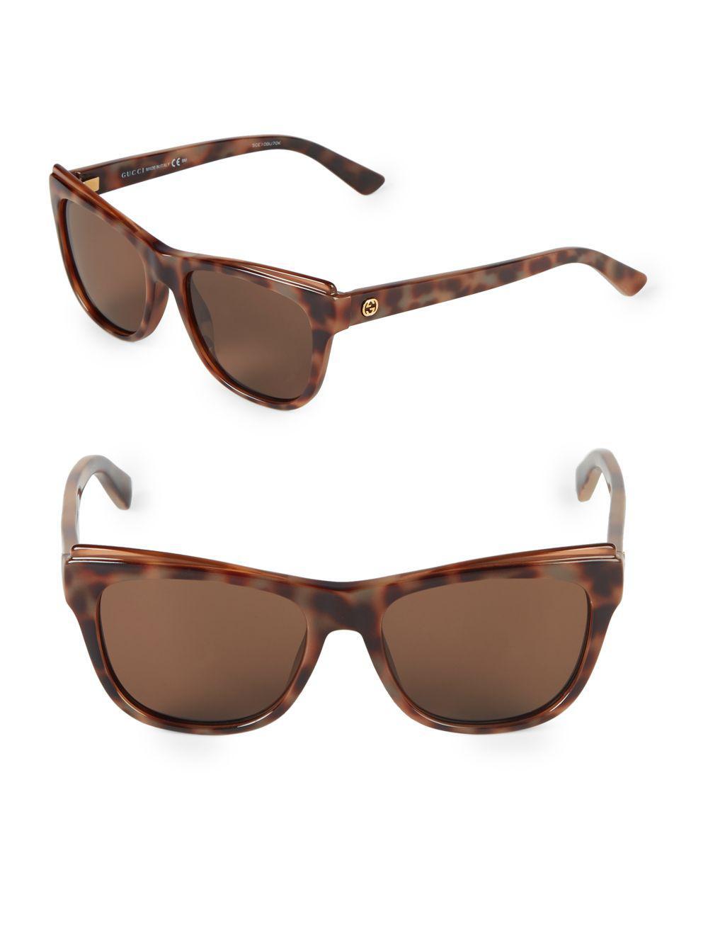 43f2b7312a7 Gucci 50mm Square Sunglasses in Brown - Lyst