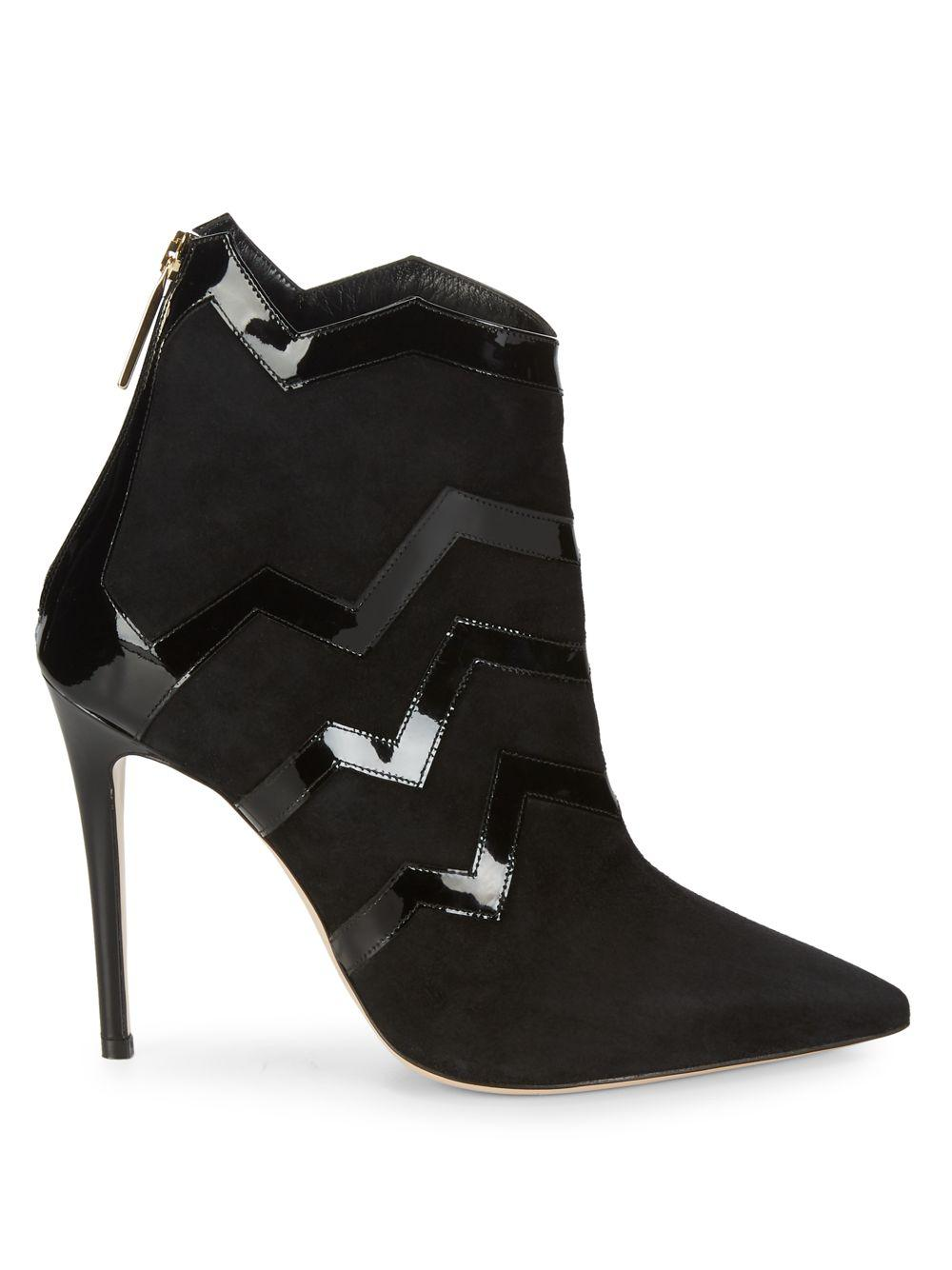 Aperlai Leather Patent Zigzag Suede Boots in Black