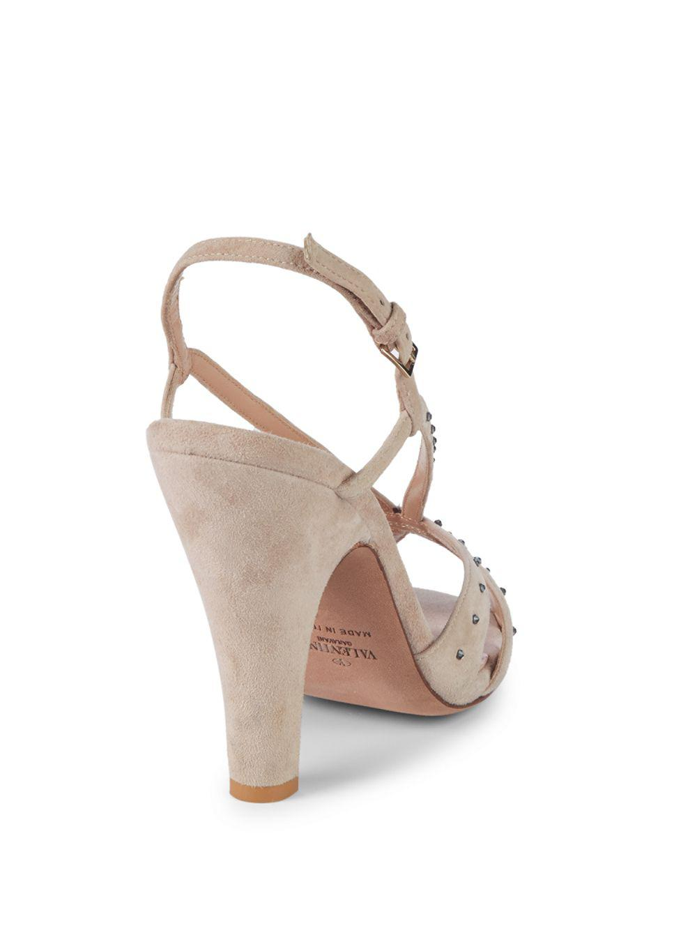 41a8b46bd47 Lyst - Valentino Embellished Suede Sandals in Natural - Save 8%