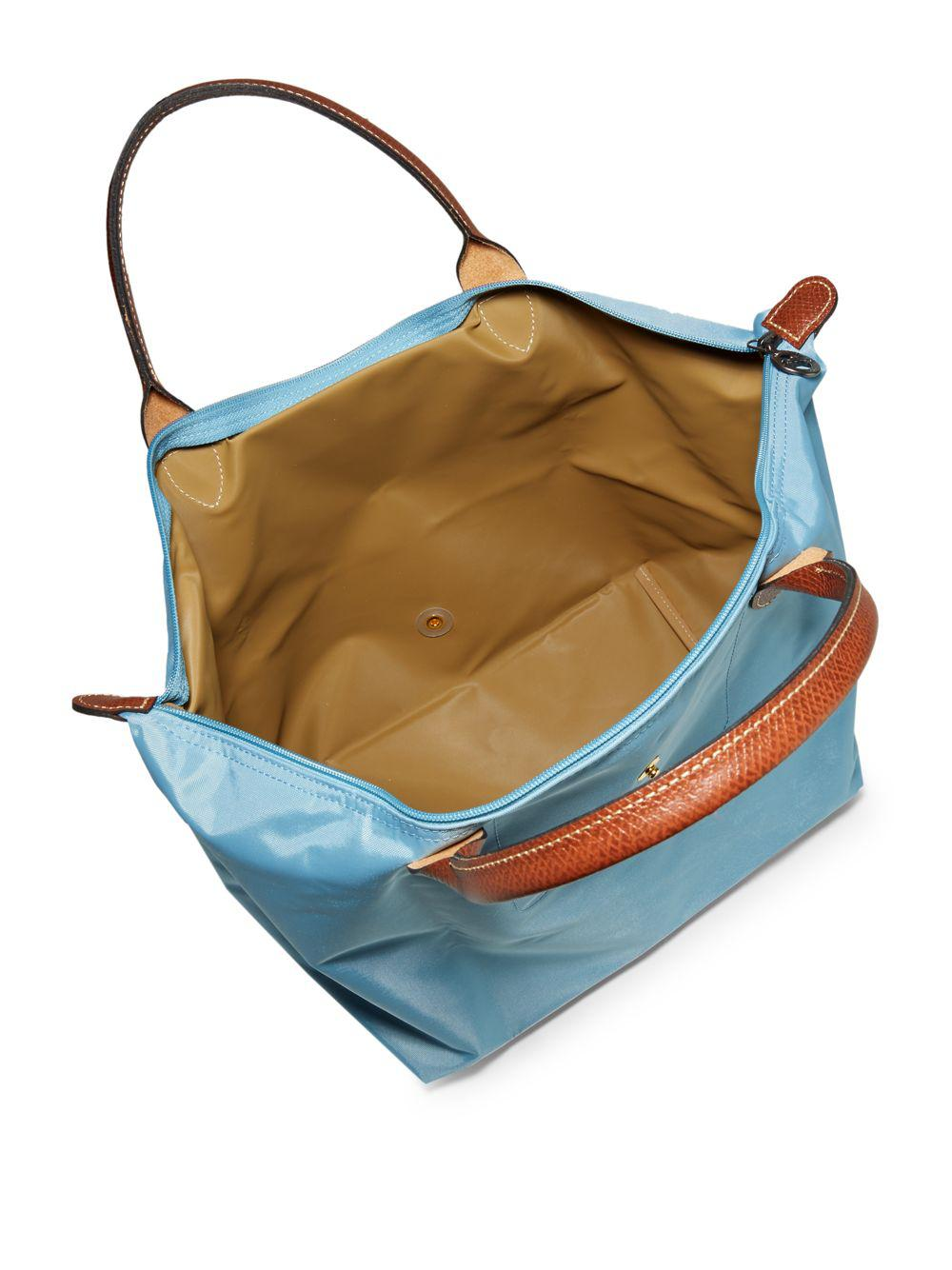 Longchamp Leather Le Pliage Tote Bag in Blue