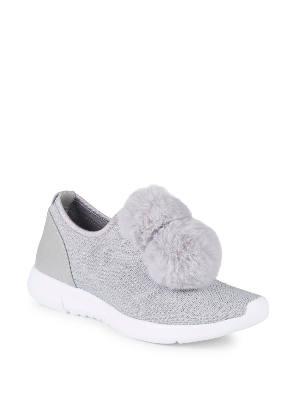 c08a78979 Lyst - Circus by Sam Edelman Lisette Faux Fur Pom-pom Sneakers in Gray