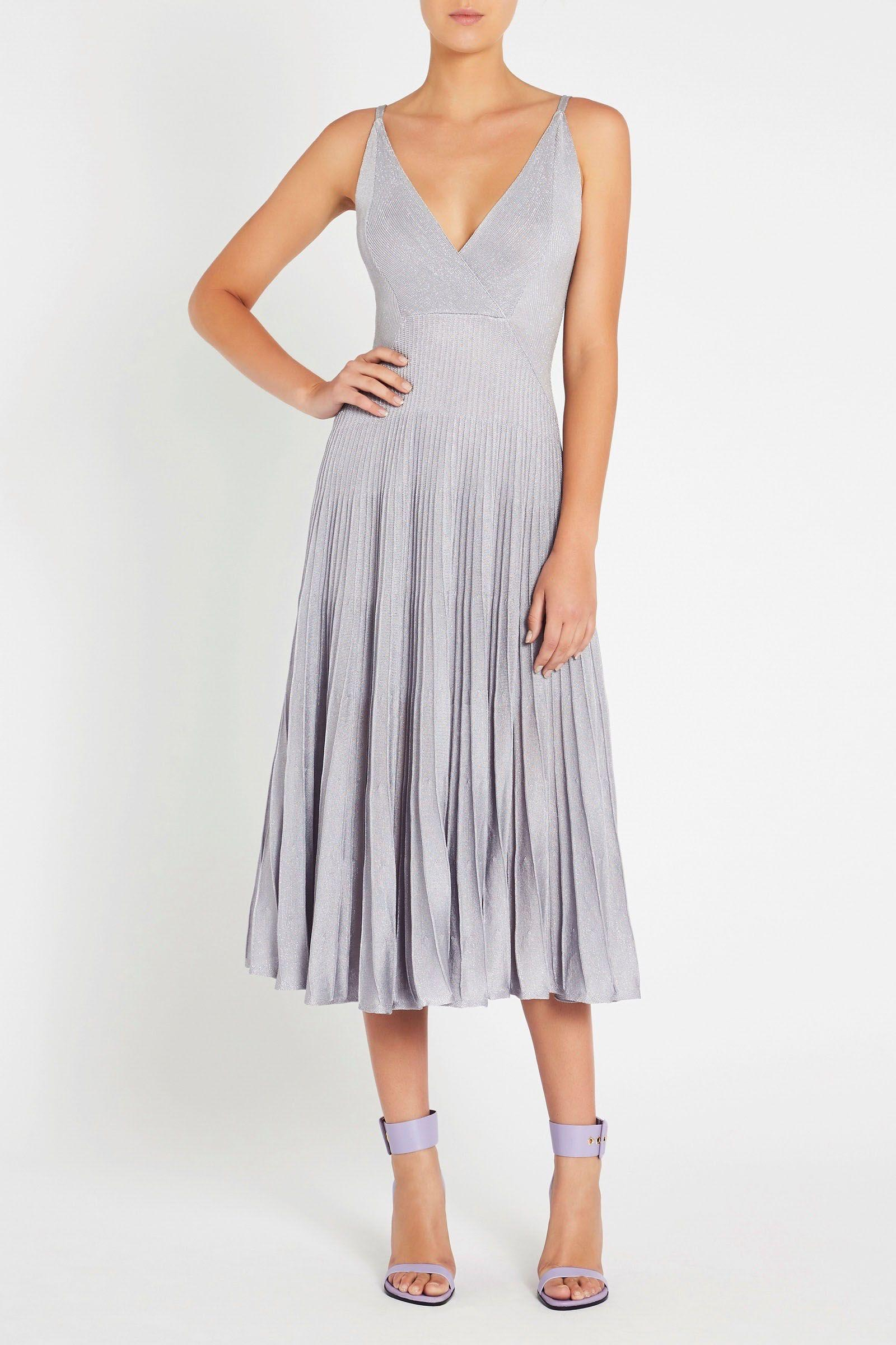 Sass Bide Synthetic Almost Famous Knit Dress In Silver Metallic Lyst