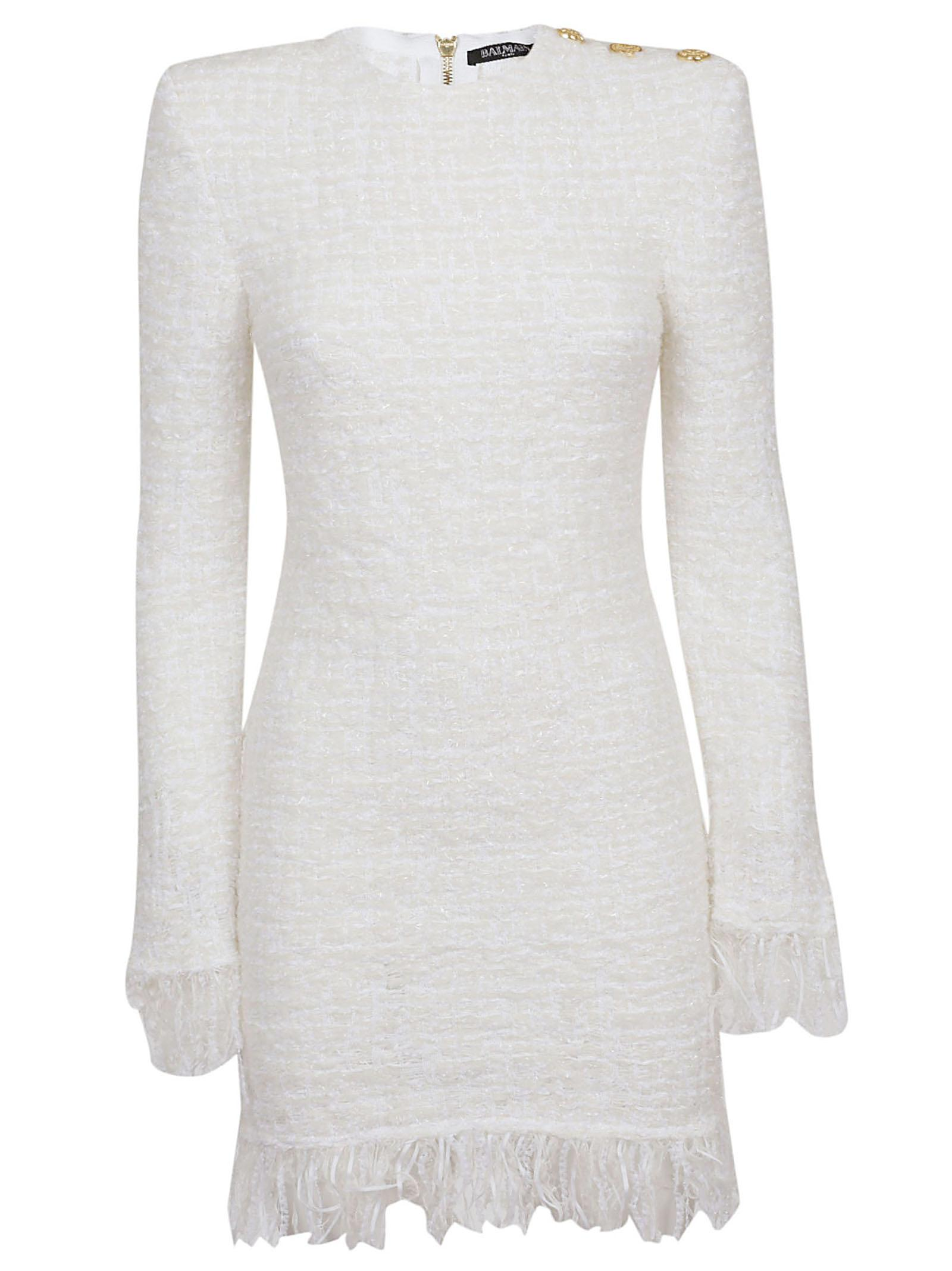 d0d3bd6f413 Lyst - Balmain Short Ls 3 Btn Fringed Tweed Dress in White