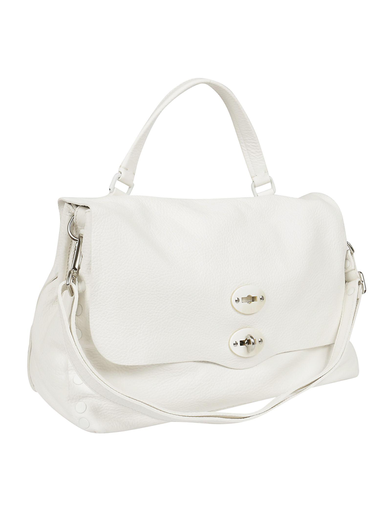 Zanellato Leather Medium Foldover `postina` Tote in White