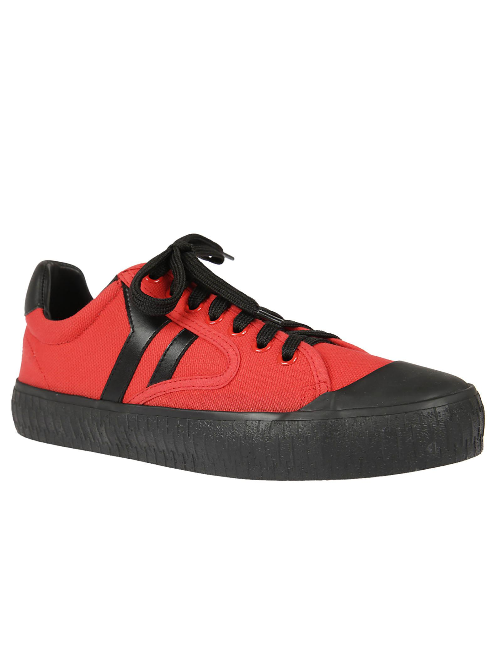 Celine Cotton Lace-up Sneakers in Red for Men