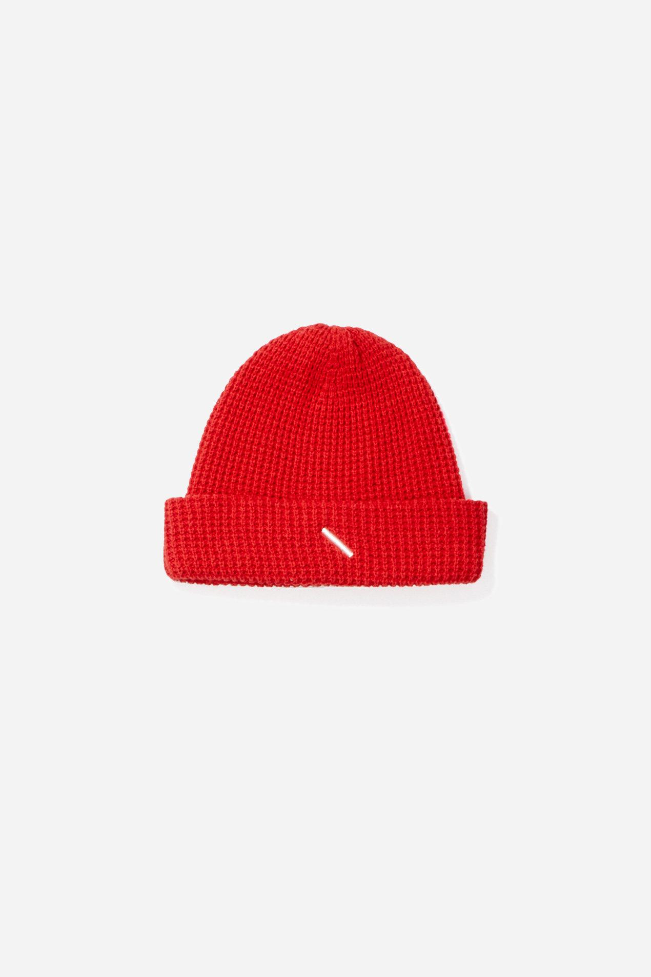 37b3df169 Men's Red Waffle Crepe Beanie