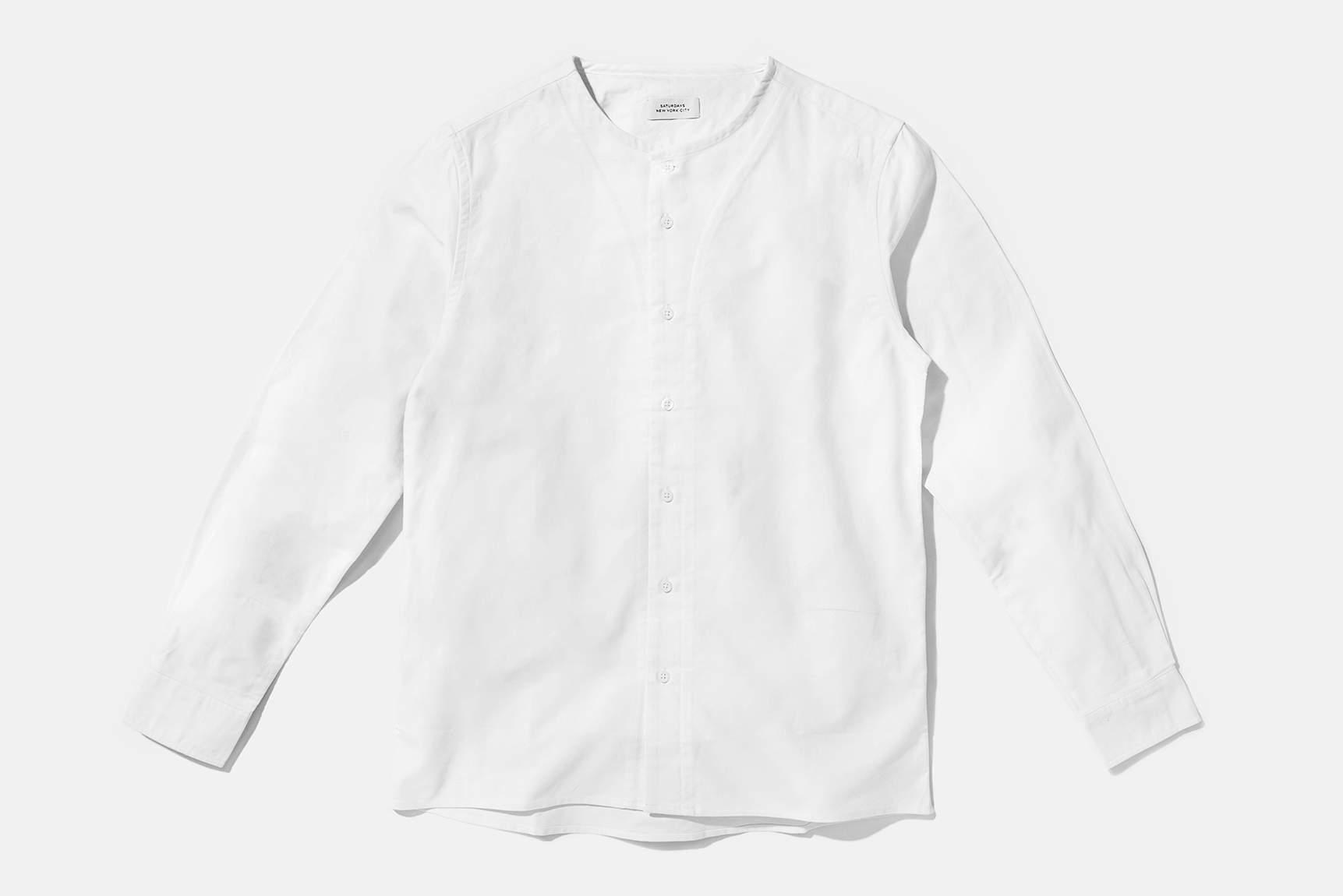 Saturdays nyc pontus collarless shirt in white for men lyst for Collarless white shirt slim fit