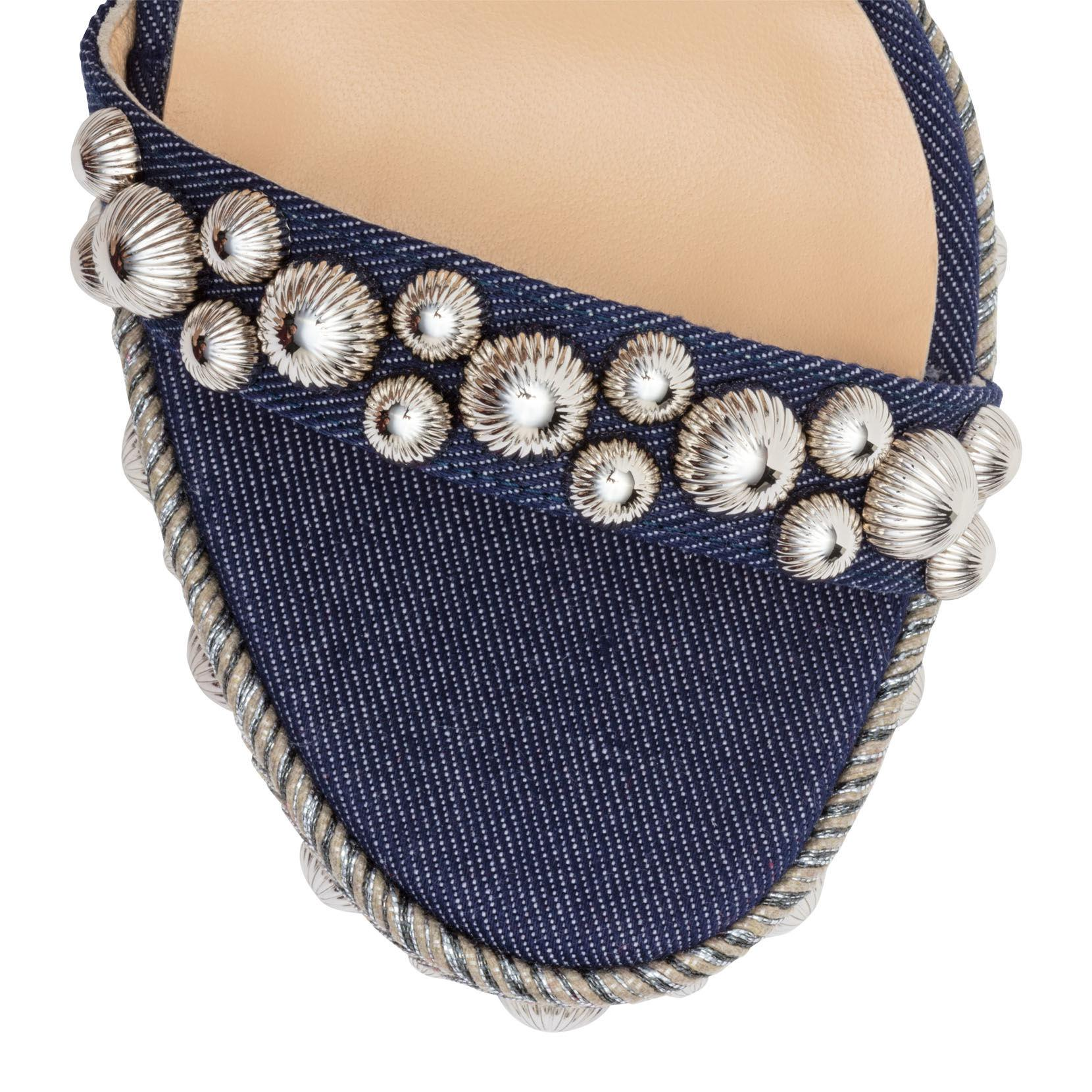 1b48a787352 Christian Louboutin - Rondaclou 120 Blue Denim Wedge Sandals - Lyst. View  fullscreen