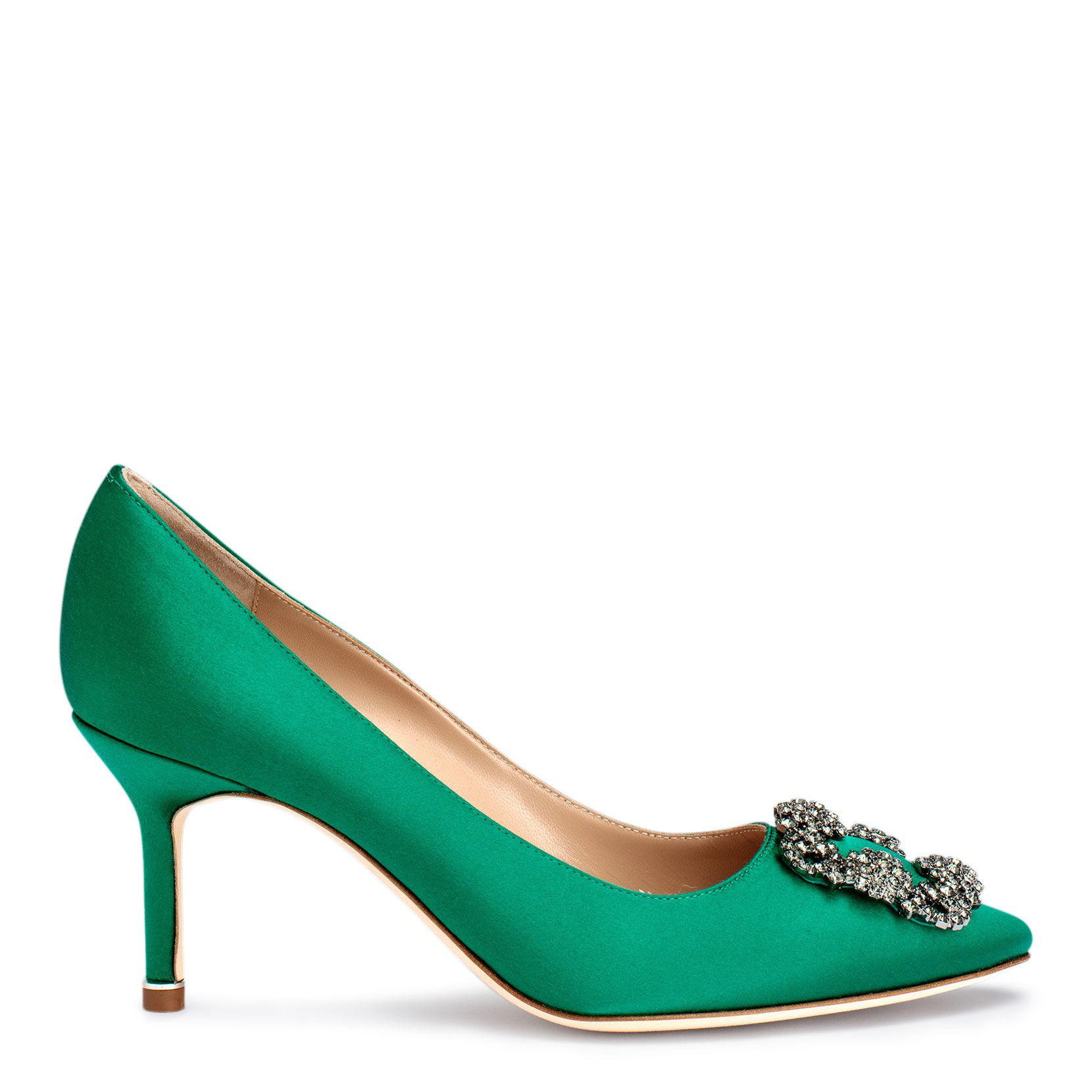 494cbb5c02f Manolo Blahnik - Green Hangisi 70 Emerald Satin Pumps - Lyst. View  fullscreen