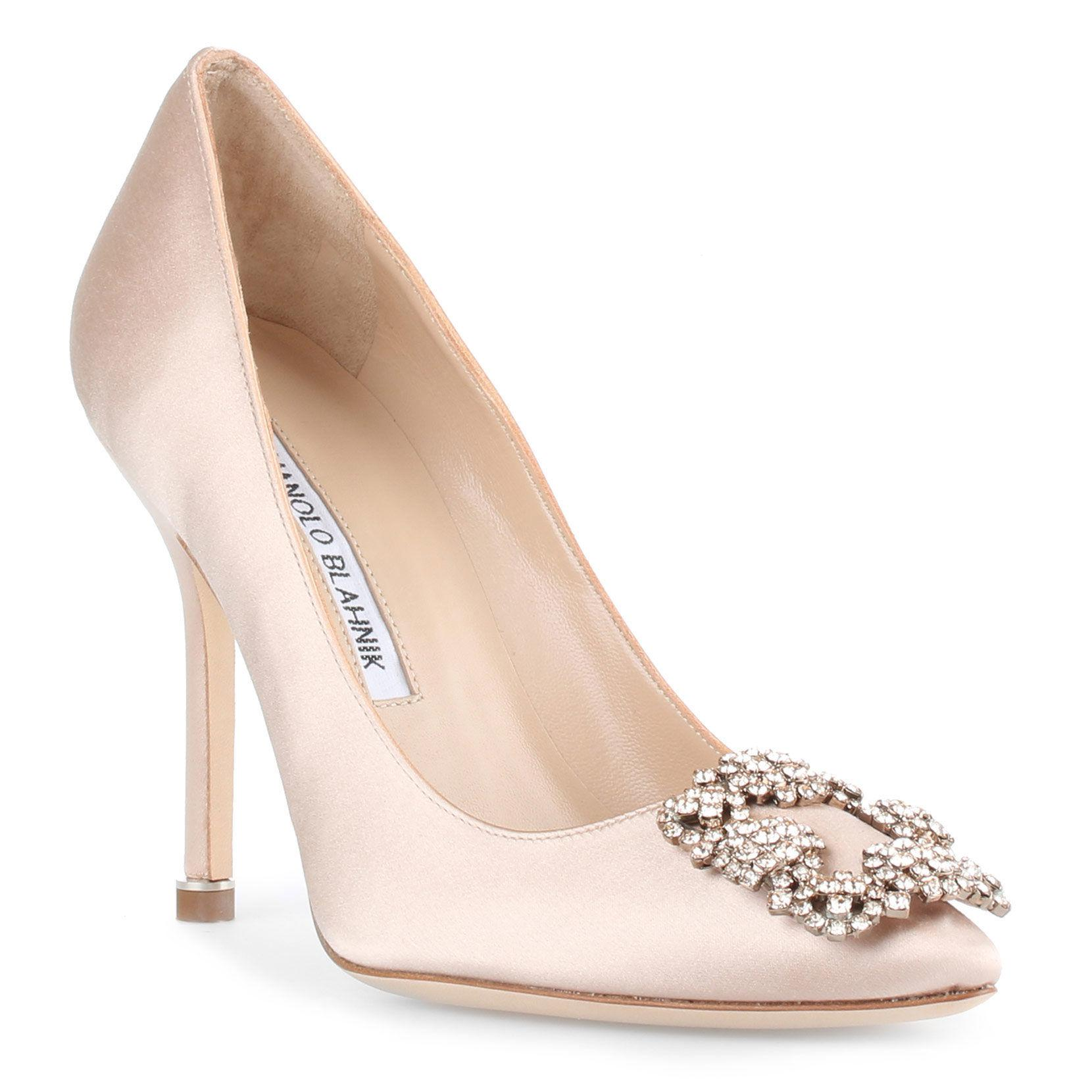 28421a6364e Lyst - Manolo Blahnik Hangisi 105 Nude Satin Pumps in Natural