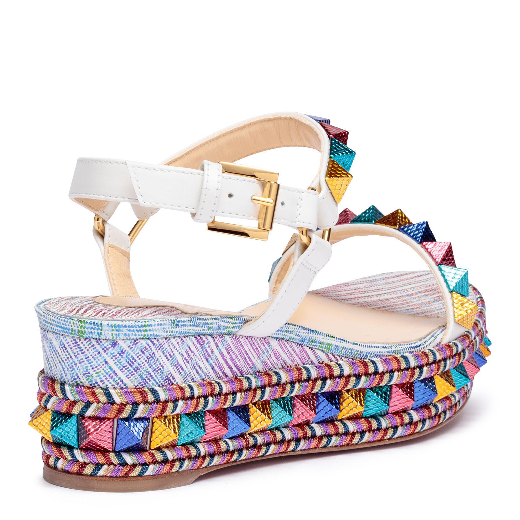 info for d521e 69174 Christian Louboutin Blue Pyraclou 60 Suede Unicorn Multi Wedges