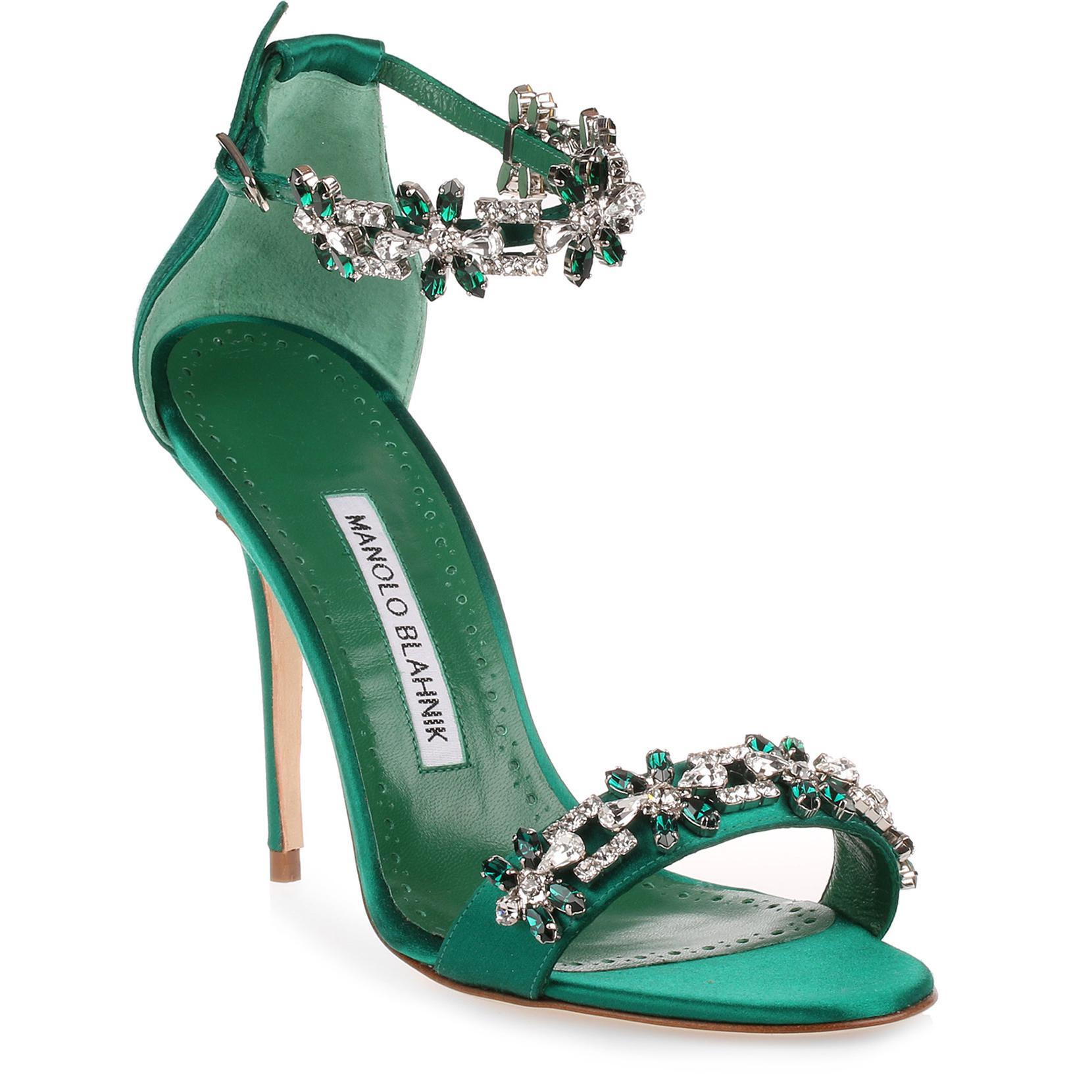 c876ae37714a ... 50% off lyst manolo blahnik firadou 105 emerald crystal sandal in green  19145 03b53