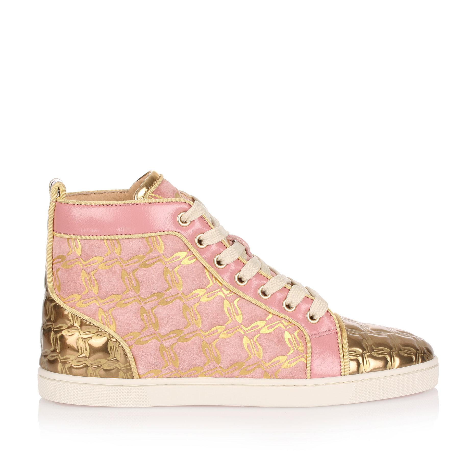 68bae8b5b435 Christian Louboutin Bip Bip Pink And Gold Suede Sneaker Us in Pink ...