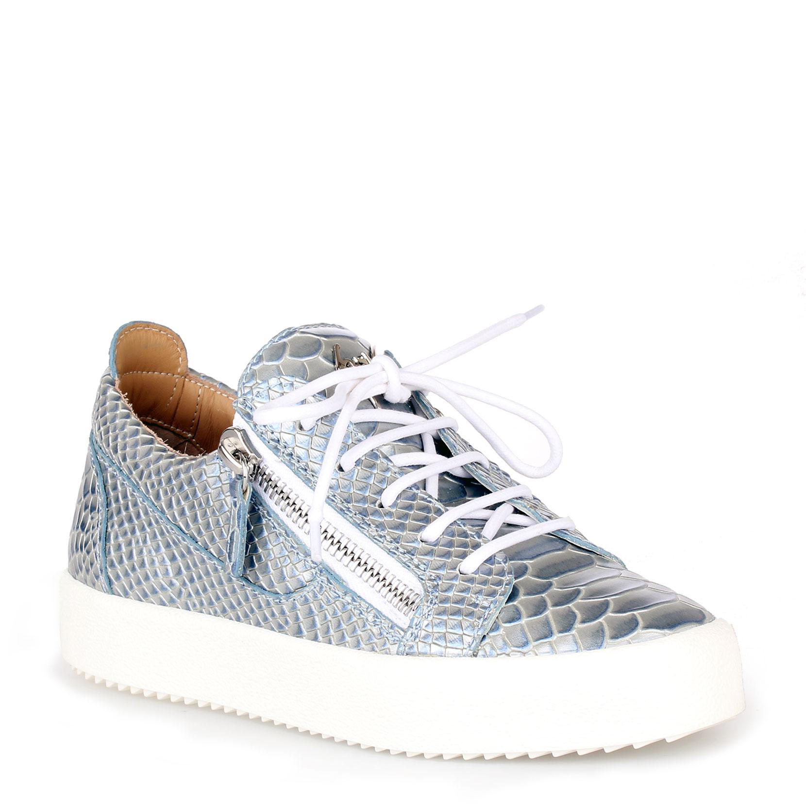 Giuseppe Zanotti Light python-embossed pearlized low-top sneaker GAIL BRhiJkD