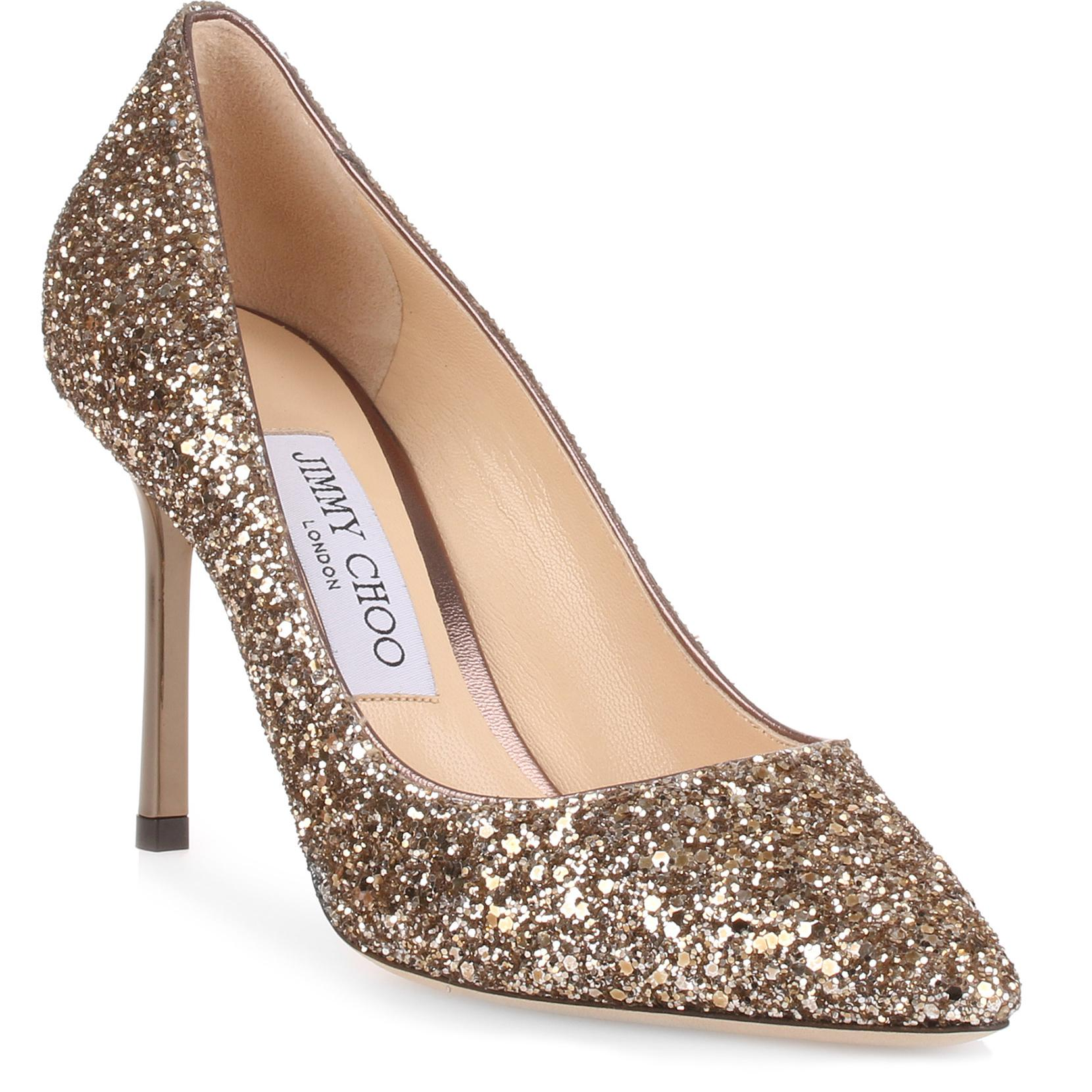 Jimmy Choo Leather Romy 85 Antique Gold