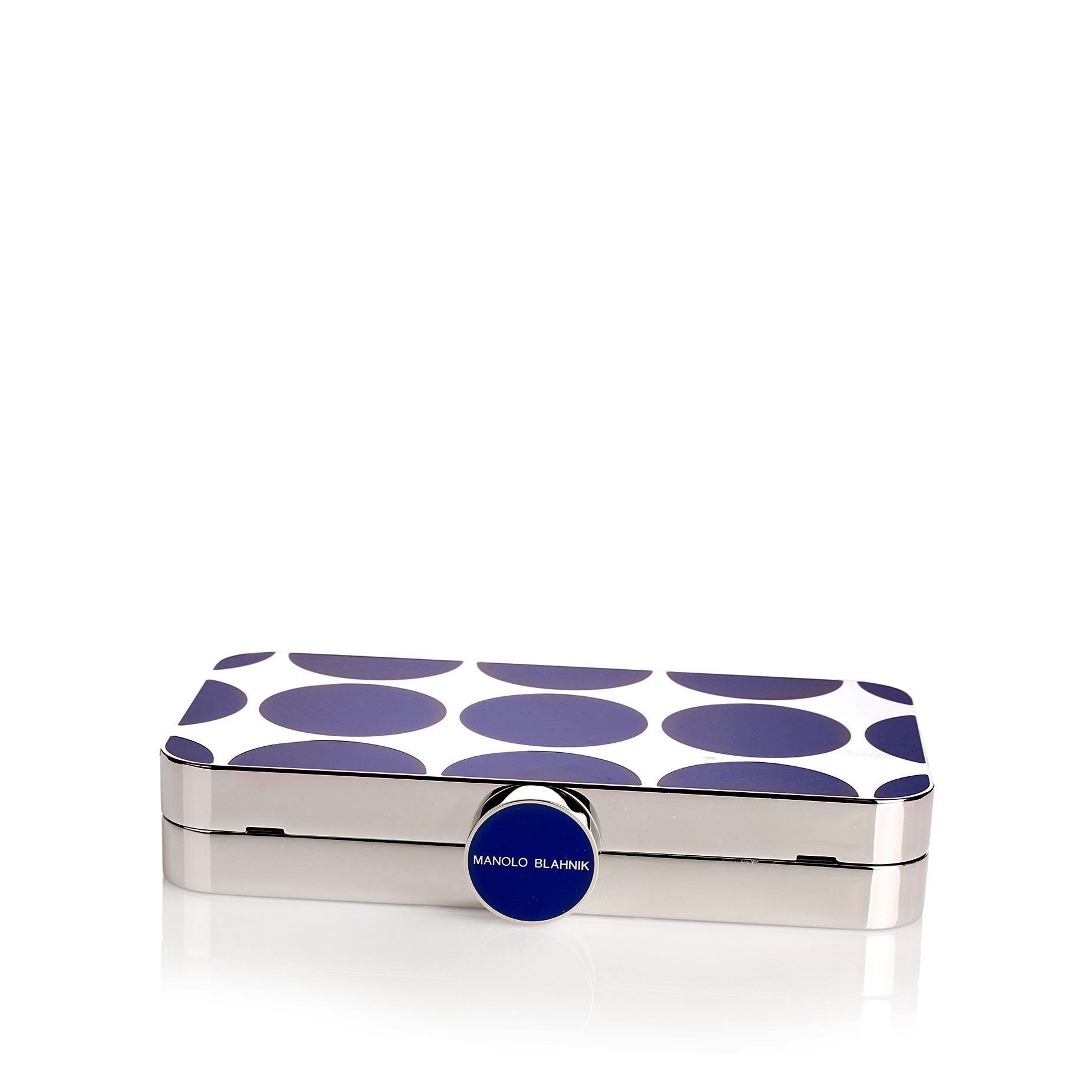 Mina royal blue shiny silver clutch Manolo Blahnik YZOwA