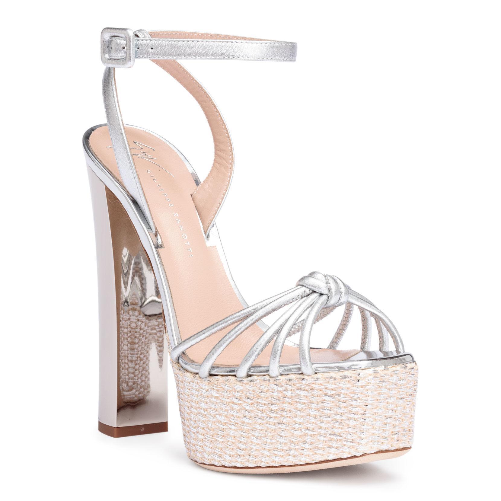 068980eccf92 Giuseppe Zanotti. Women s Silver Metallic Leather Platform Sandals