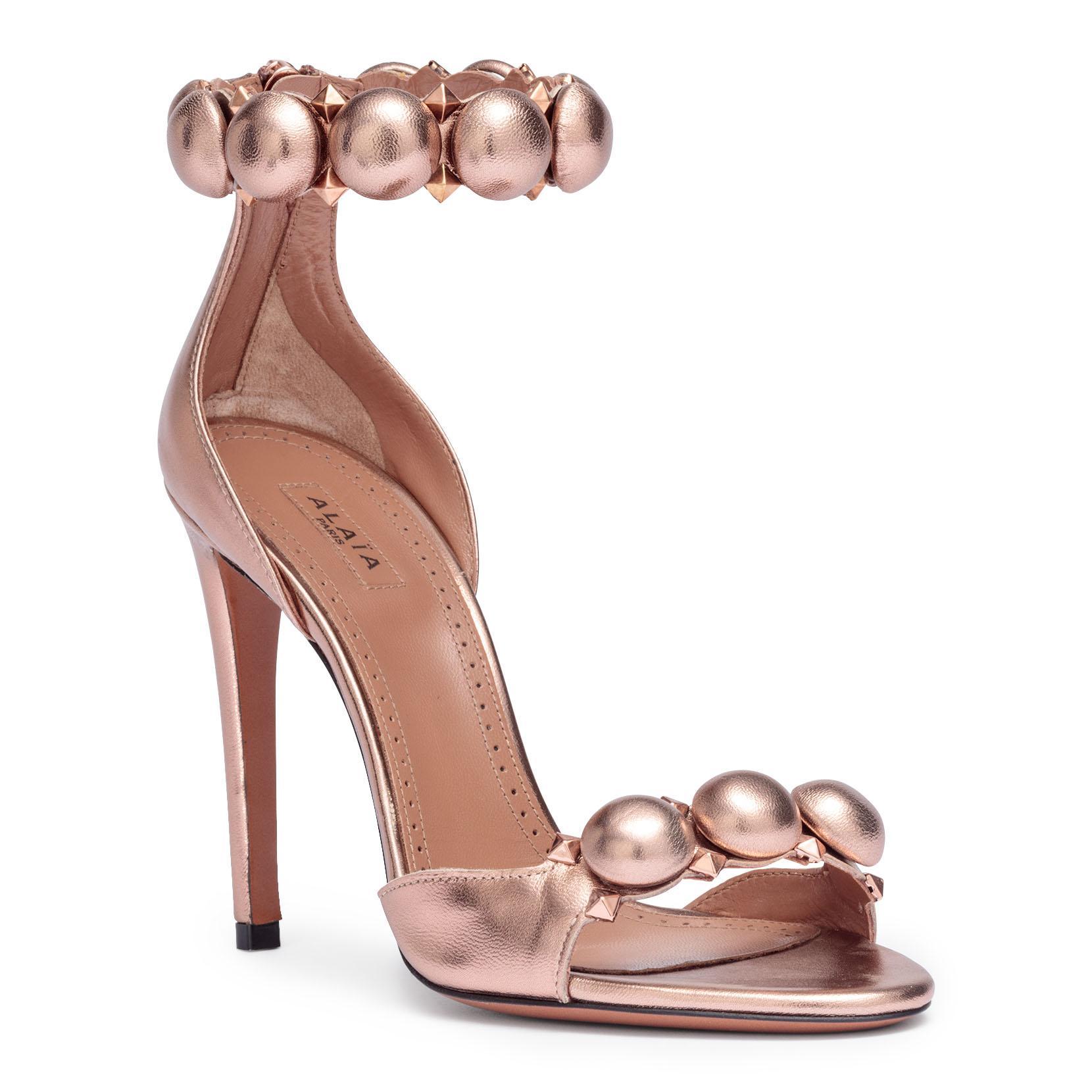 6928d4dcbc94f Lyst - Alaïa Satin T-strap Sandals