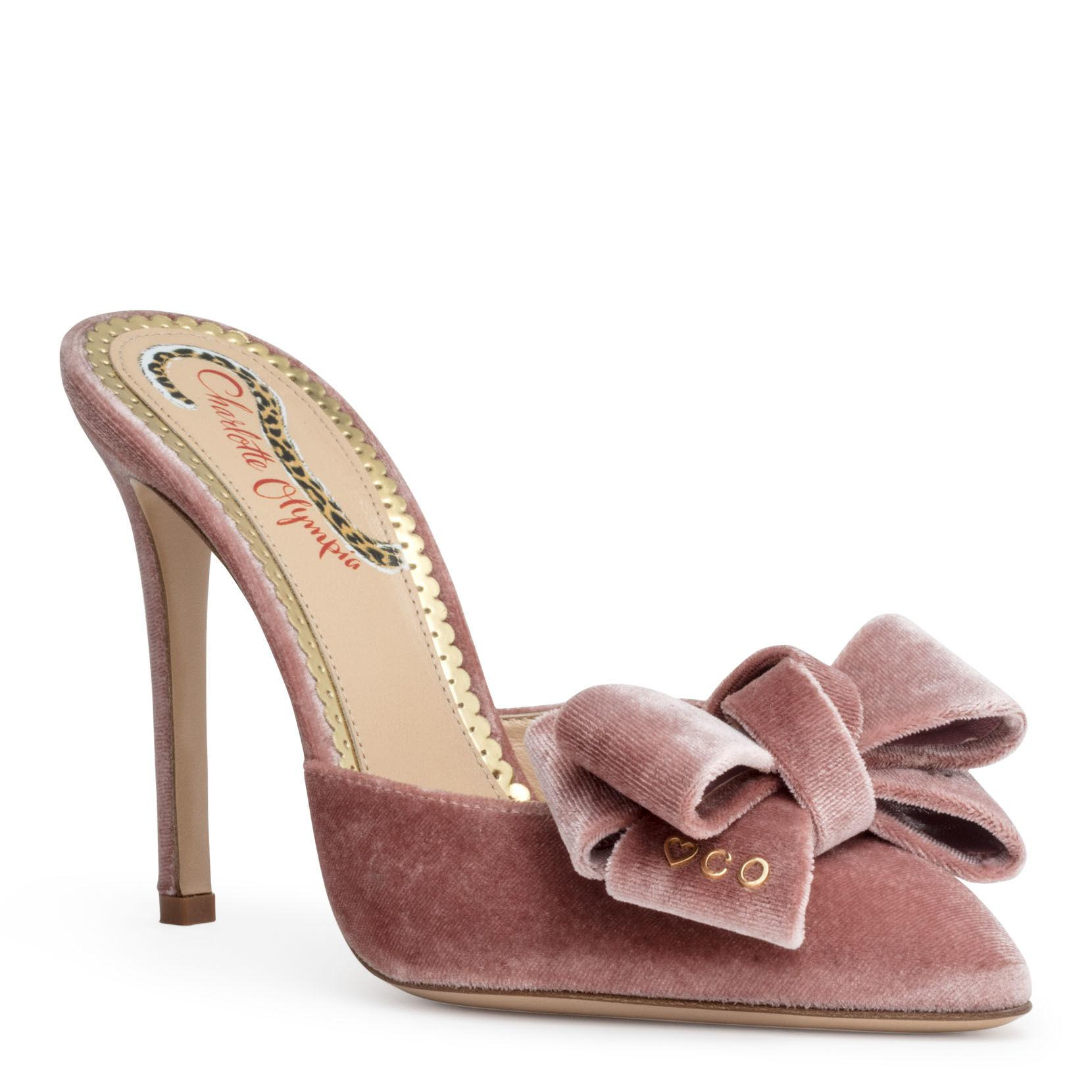 1ae39d9b3b6 Charlotte Olympia Dusty Pink 100 Velvet Mules
