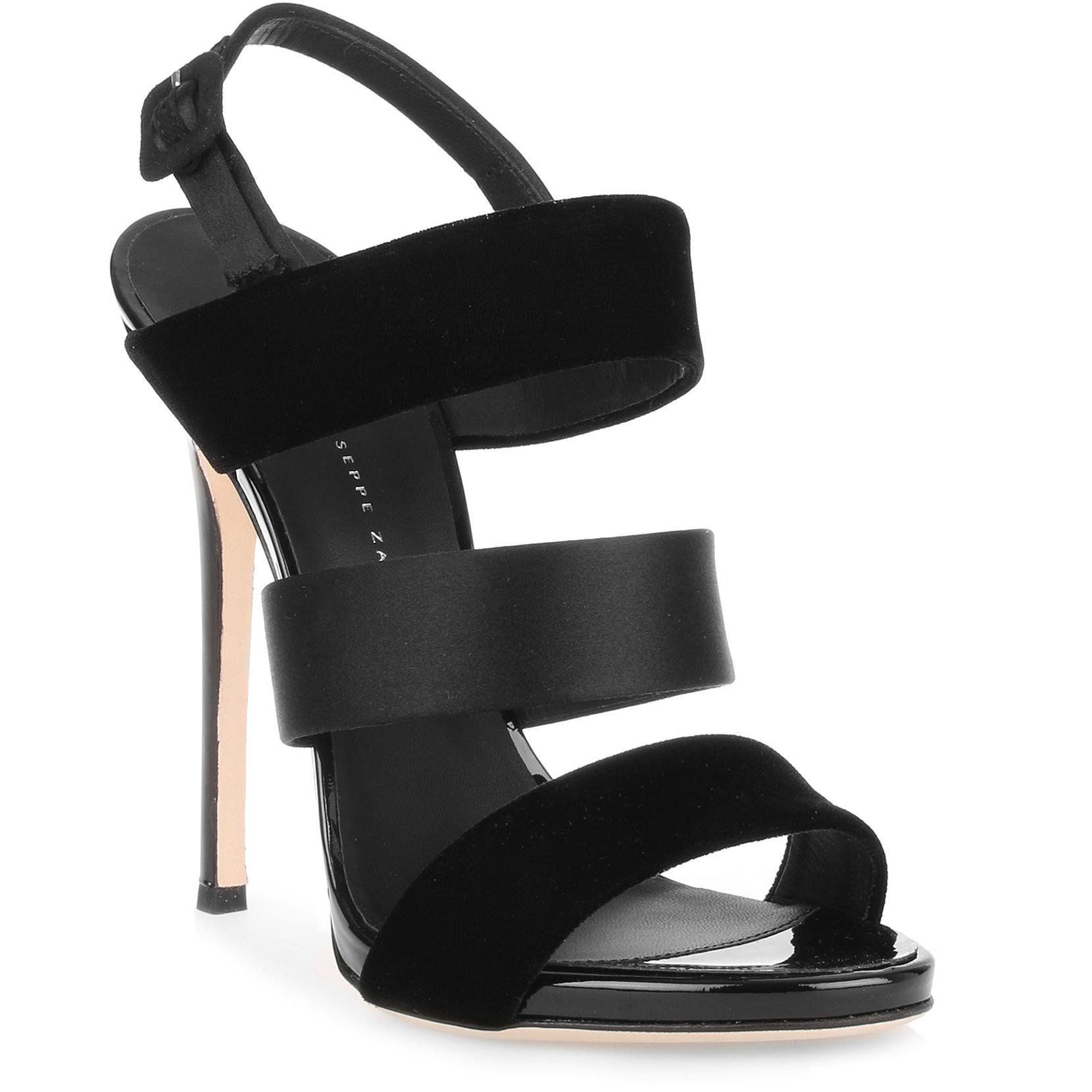 Veronica black velvet satin sandal Giuseppe Zanotti yb20cek