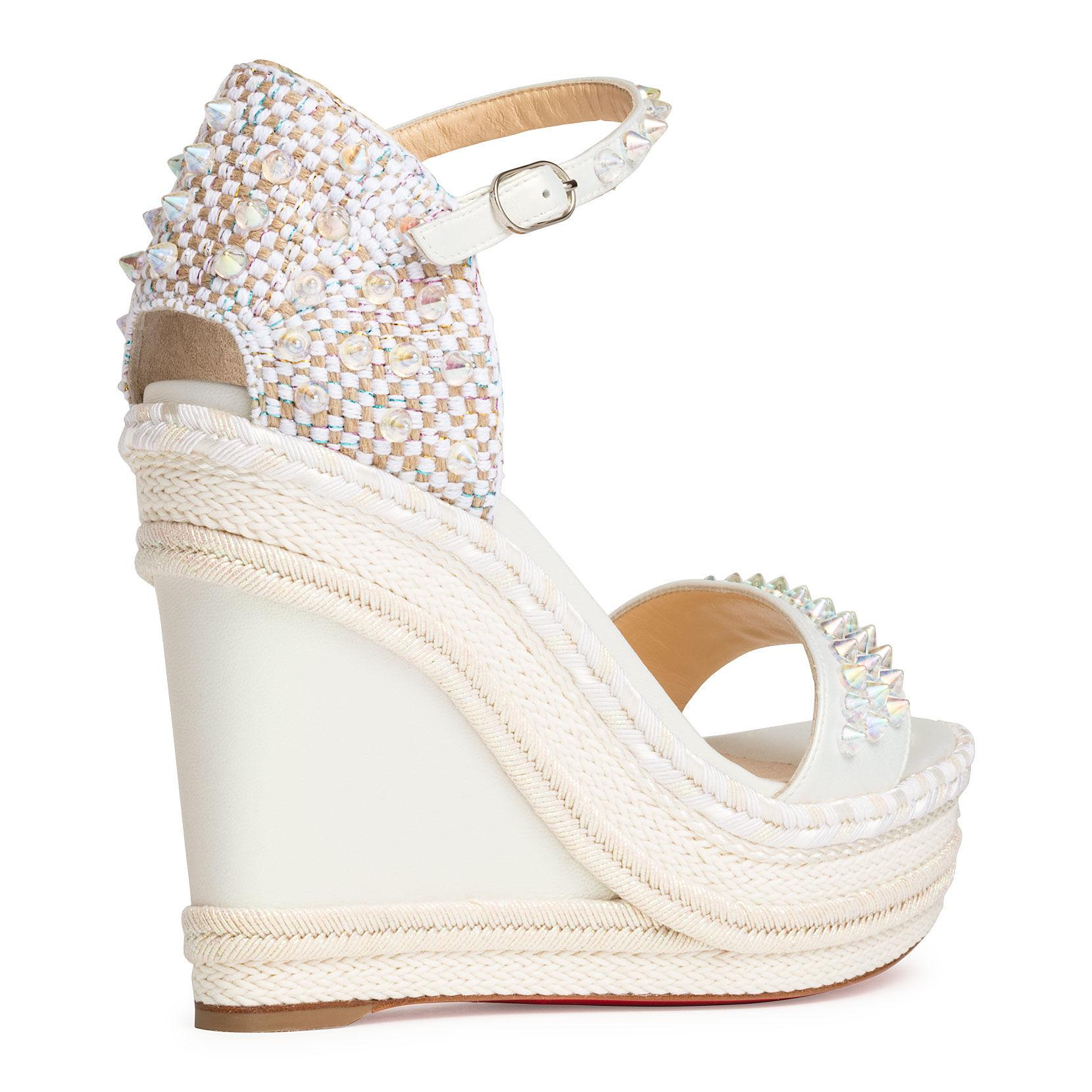 new styles feee2 bd21d Christian Louboutin Madmonica 120 White Leather Wedges - Lyst