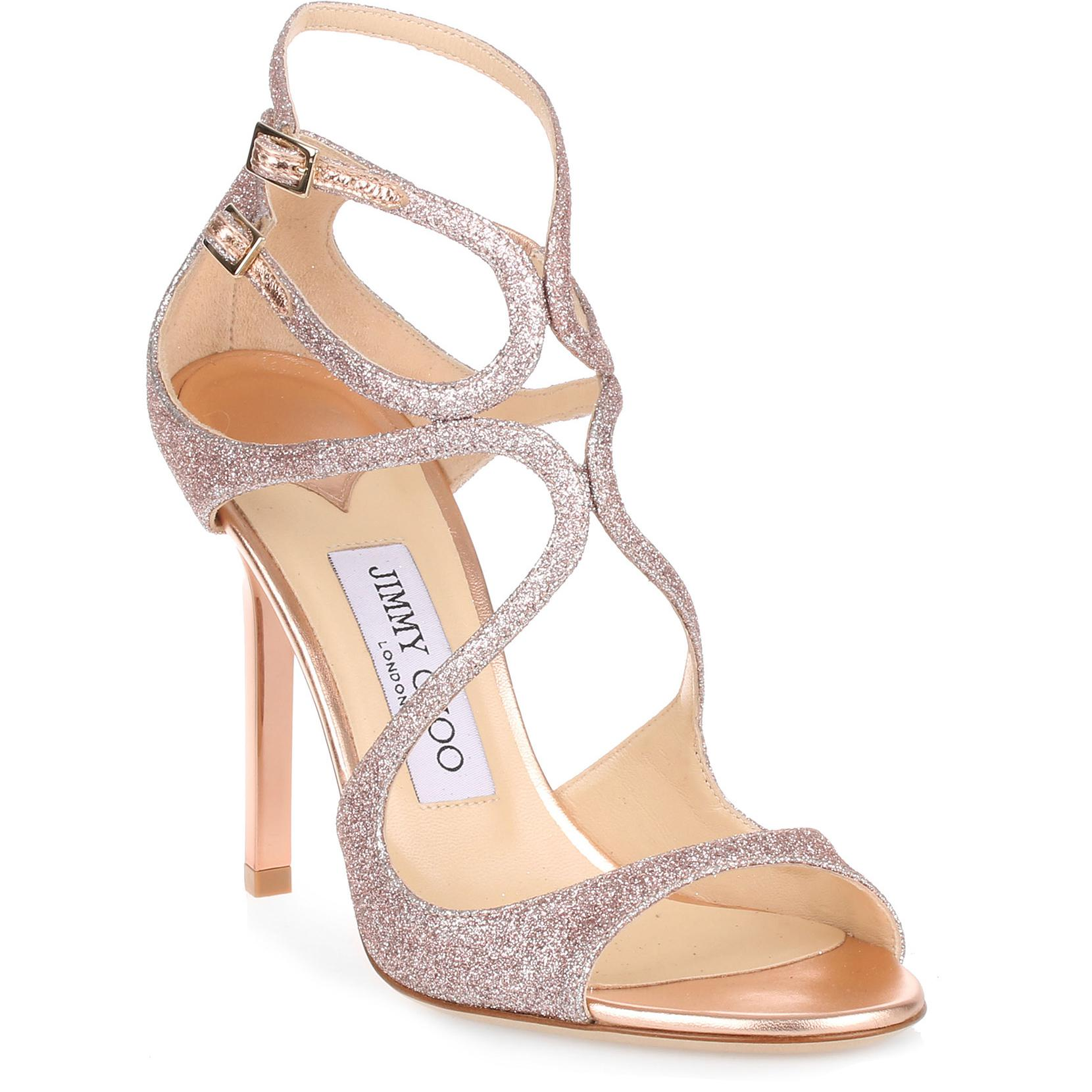 Jimmy choo Lang 100 glitter leather sandals