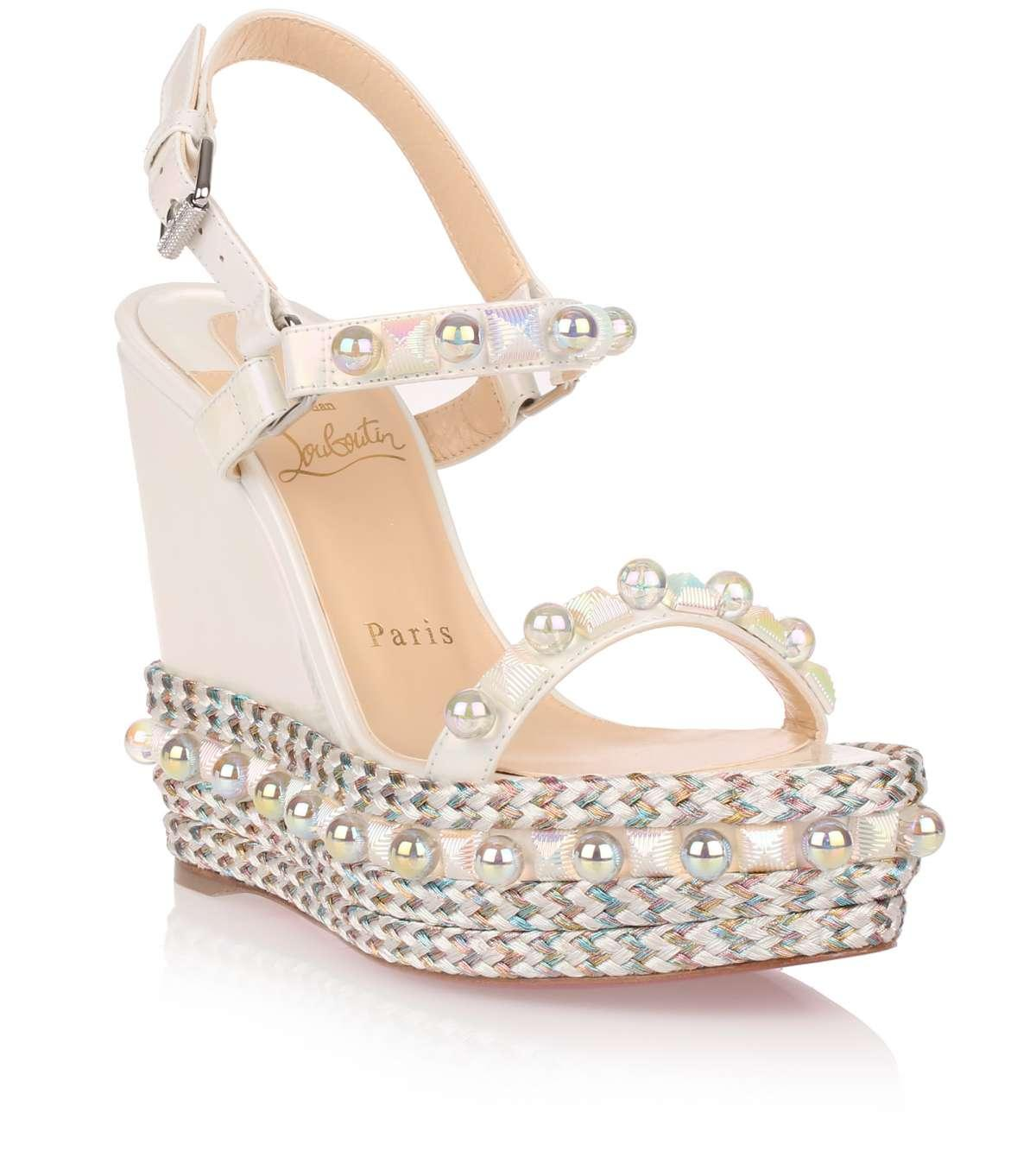f66046cdad2 Review  Christian Louboutin Cataconico 120mm white wedges from ...