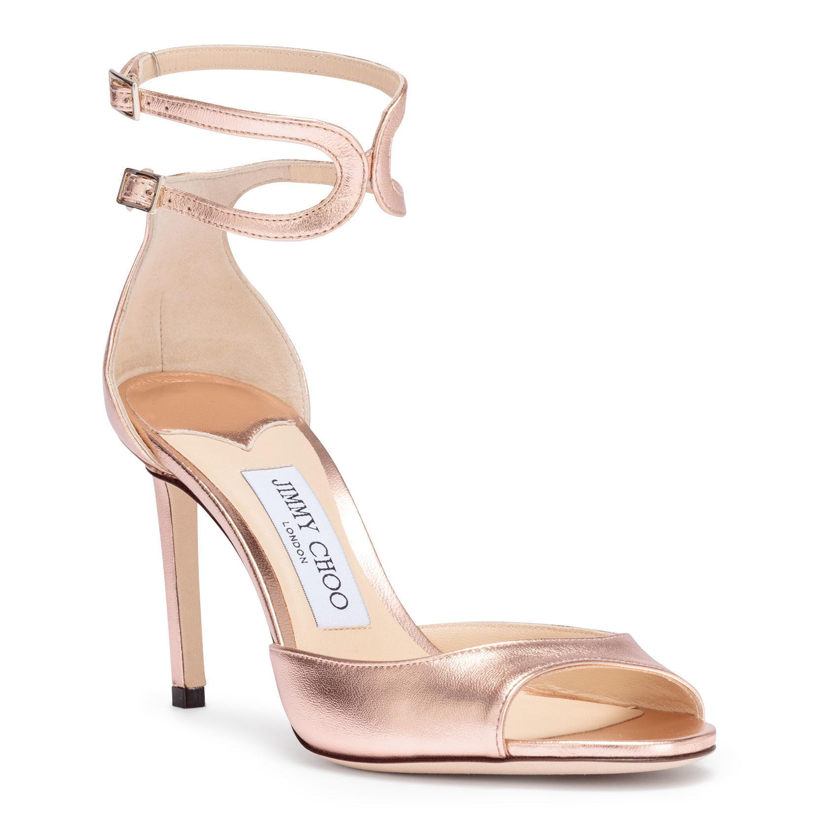 880d2da048b Lyst - Jimmy Choo Lane 85 Metallic Rose Gold Sandals