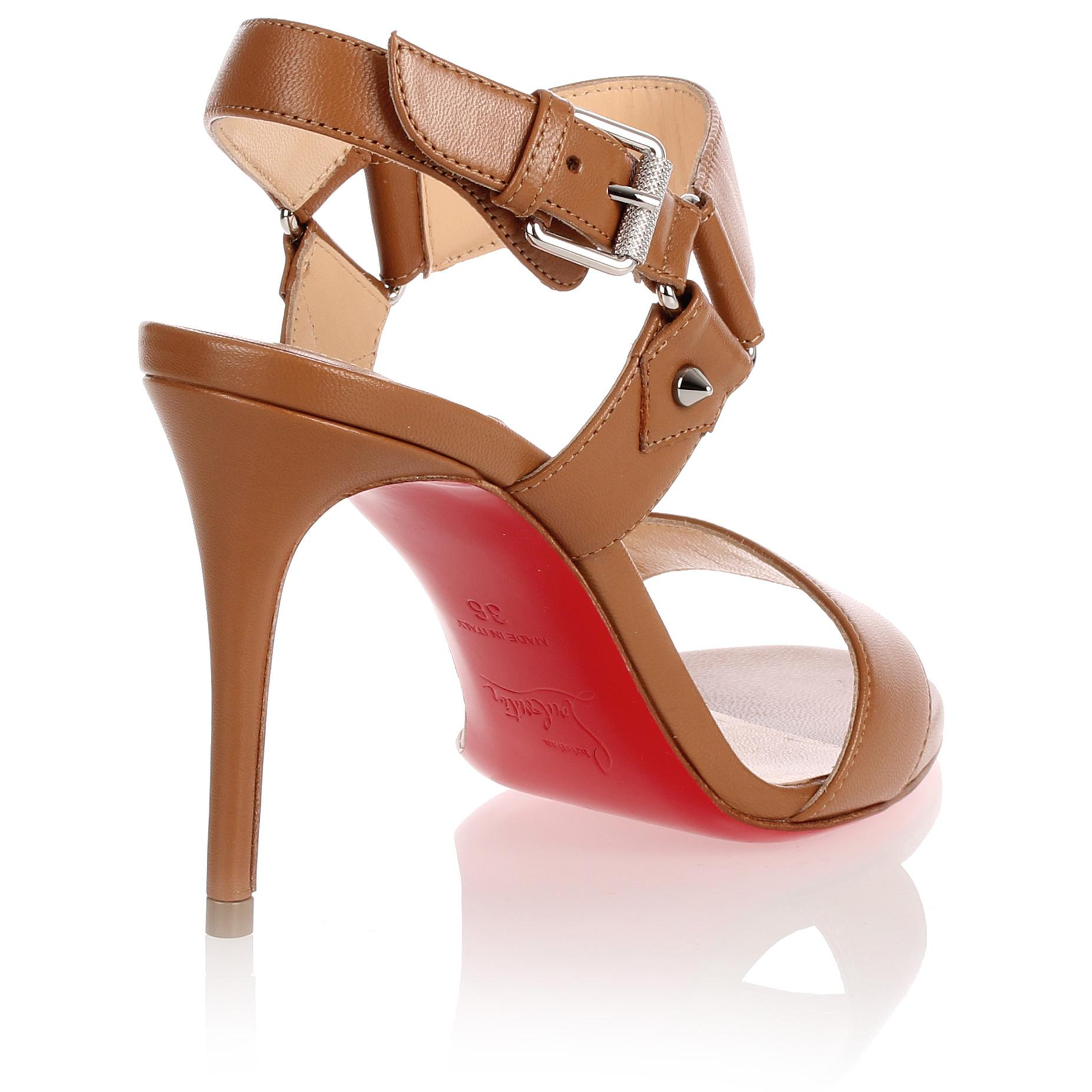 Geniue Stockist For Sale Buy Cheap Official Site Sova Heel 85 brown leather sandal Christian Louboutin Cheap Sale Largest Supplier h5l90wnwyU