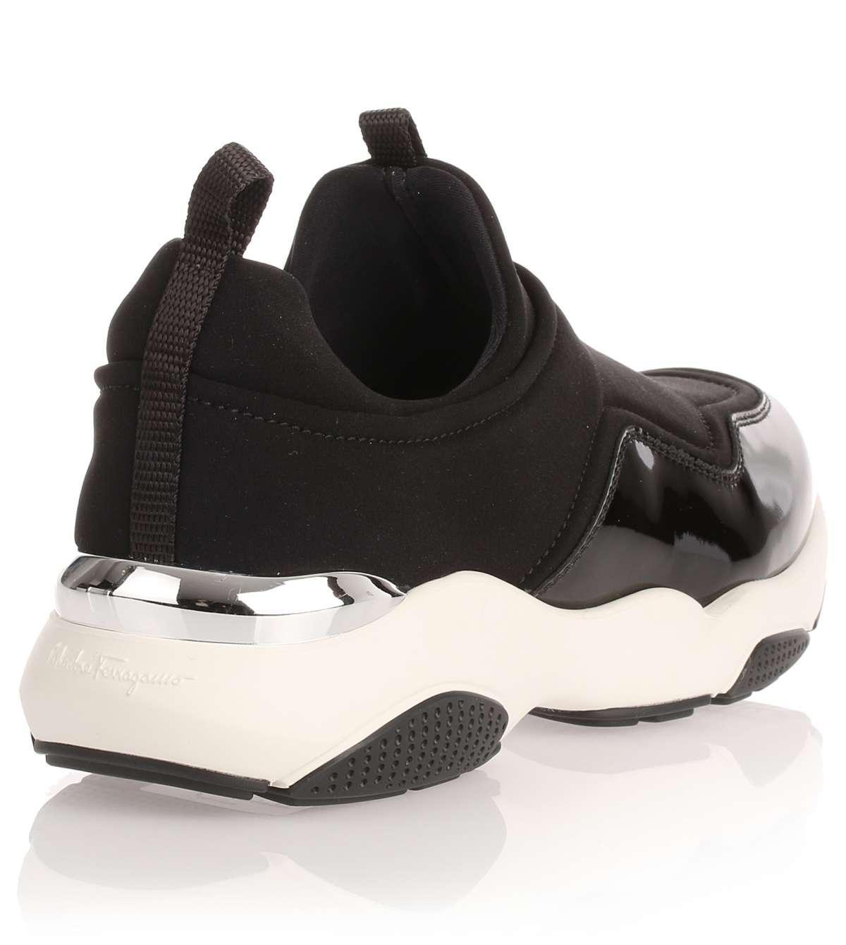 Giolly black fabric and patent leather sneaker Salvatore Ferragamo 6uMP7Uy