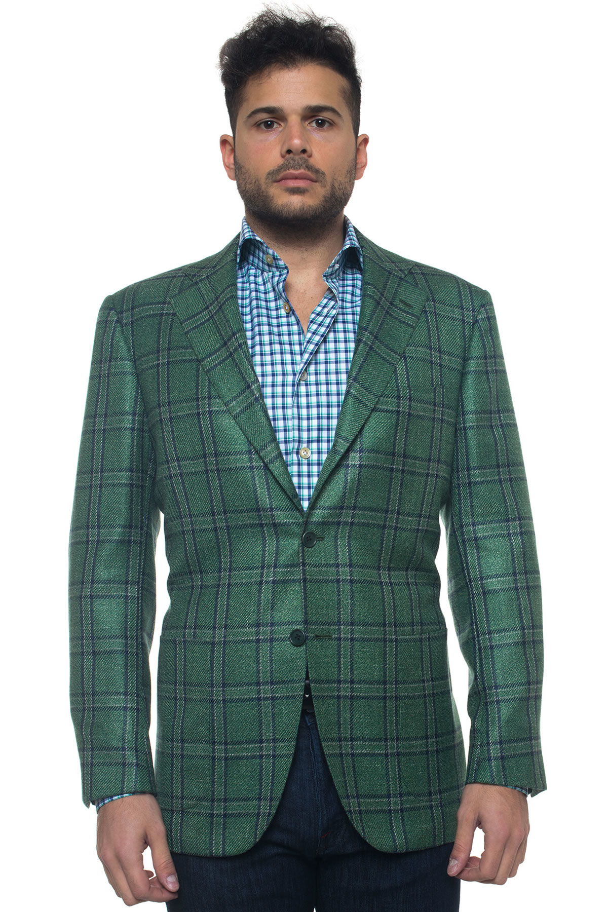 Kiton Jacket With 3 Buttons in Green for Men