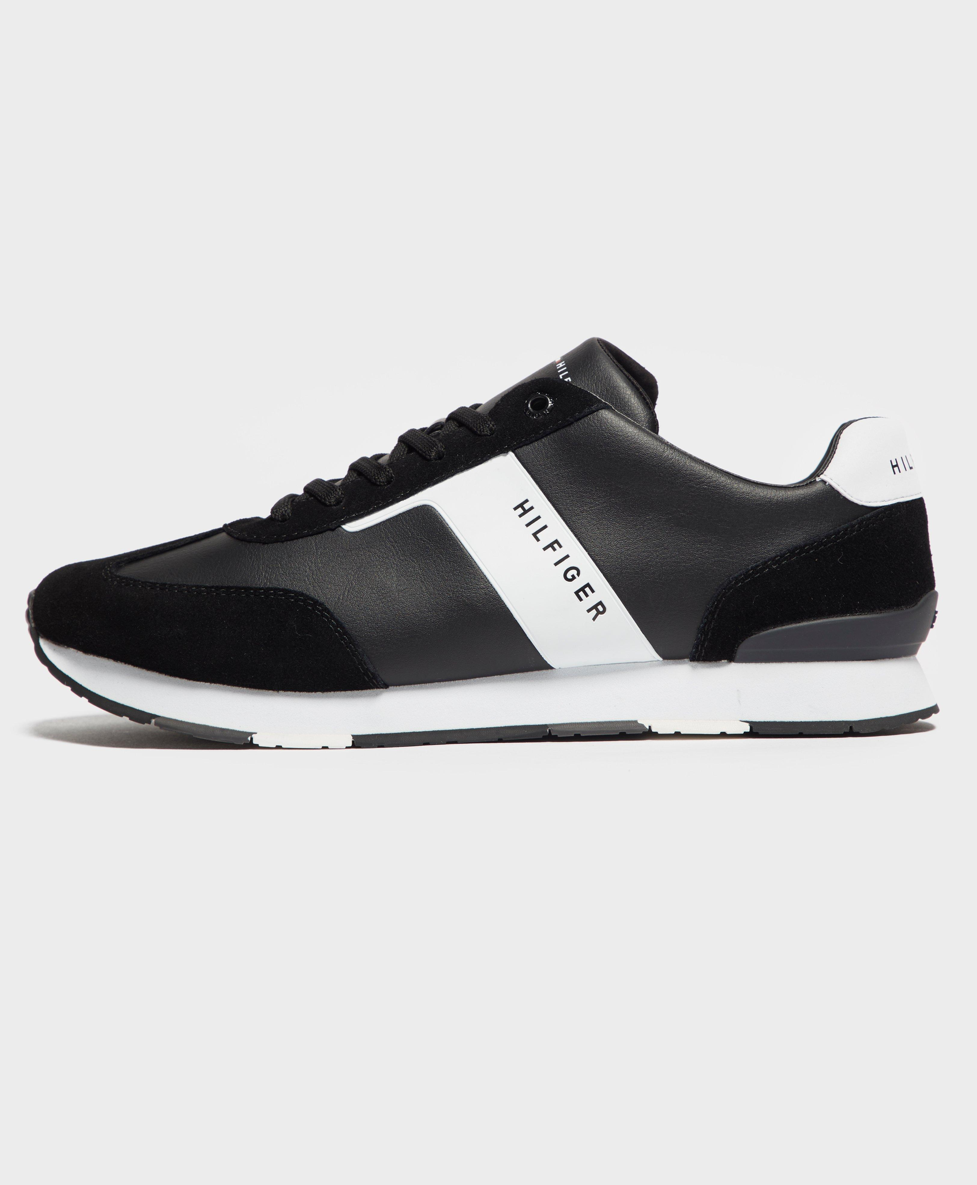2673a8d61 Tommy Hilfiger Leather Material Mix Runner Trainers in Black for Men ...