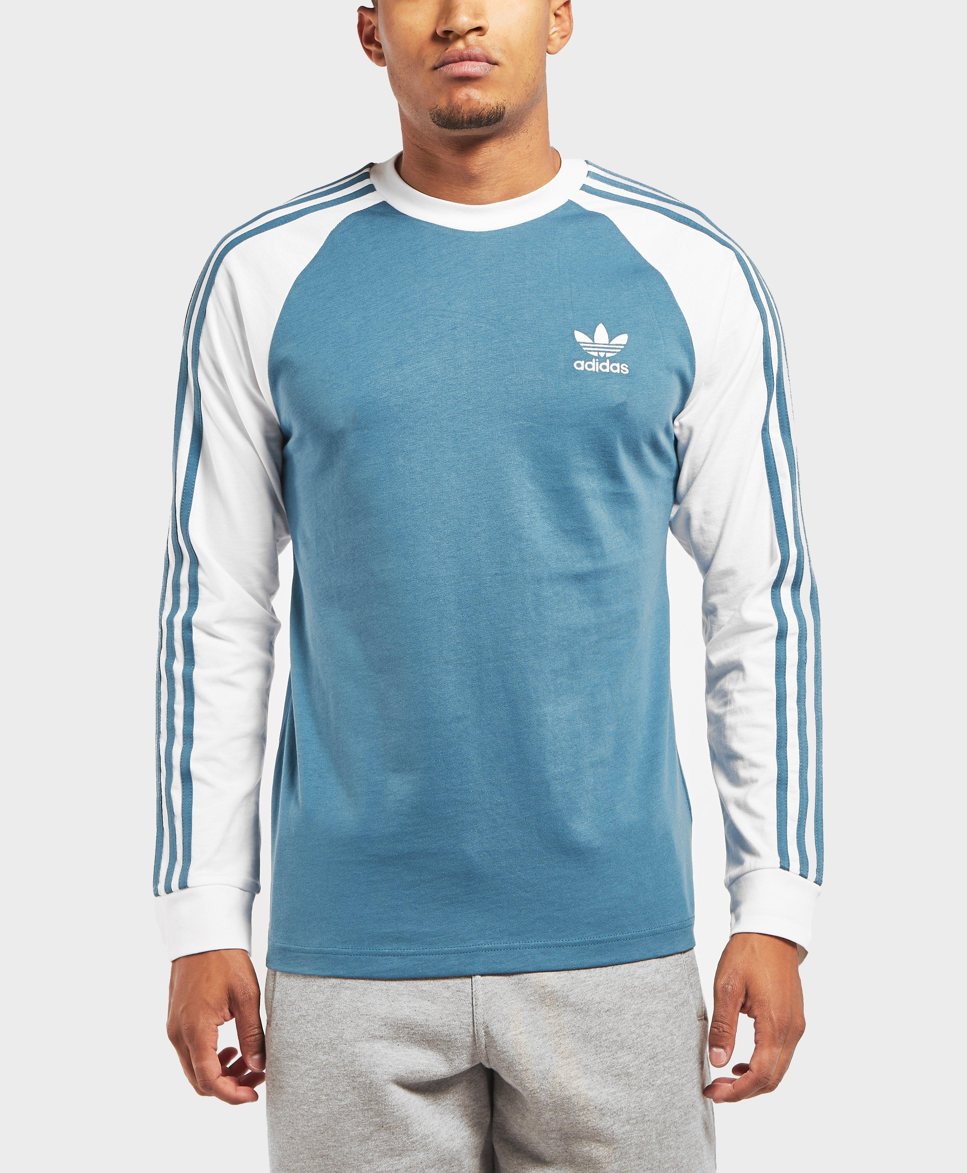 adidas Originals Cotton 3-stripes Long Sleeve T-shirt in Blue for ...