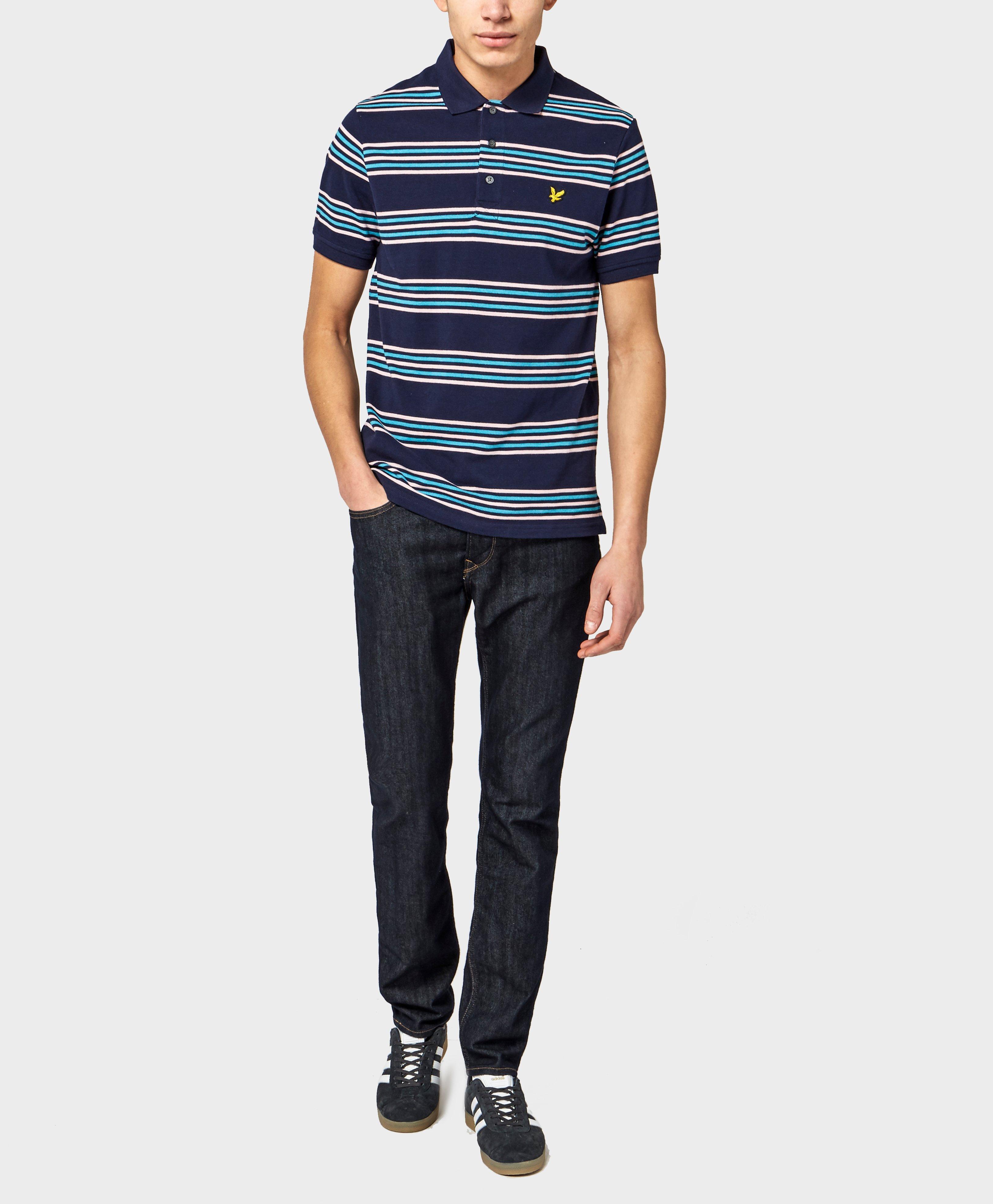 Lyle scott horizontal stripe polo shirt in blue for men for Horizontal striped dress shirts men