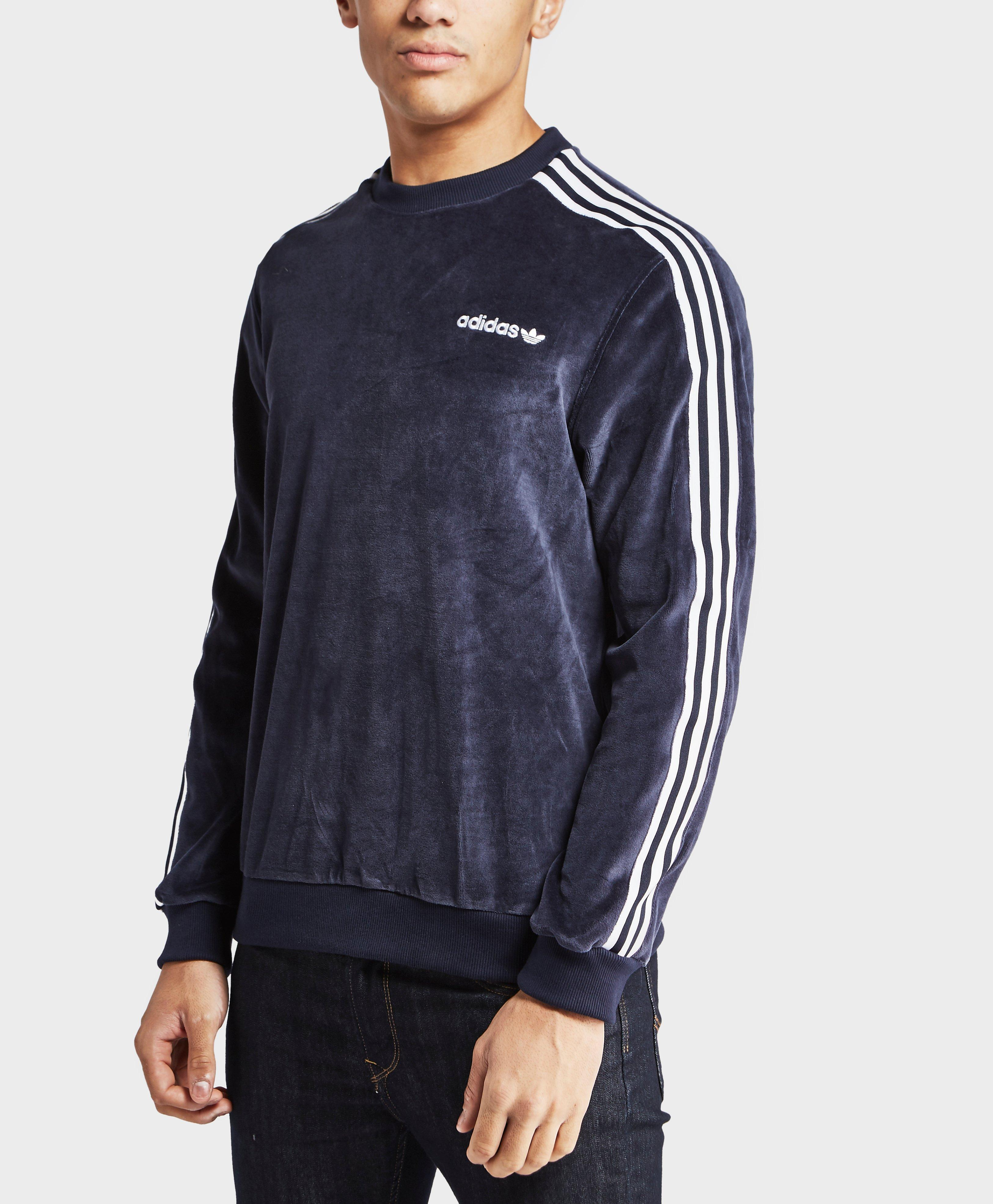 adidas originals velour crew sweatshirt in blue for men lyst. Black Bedroom Furniture Sets. Home Design Ideas