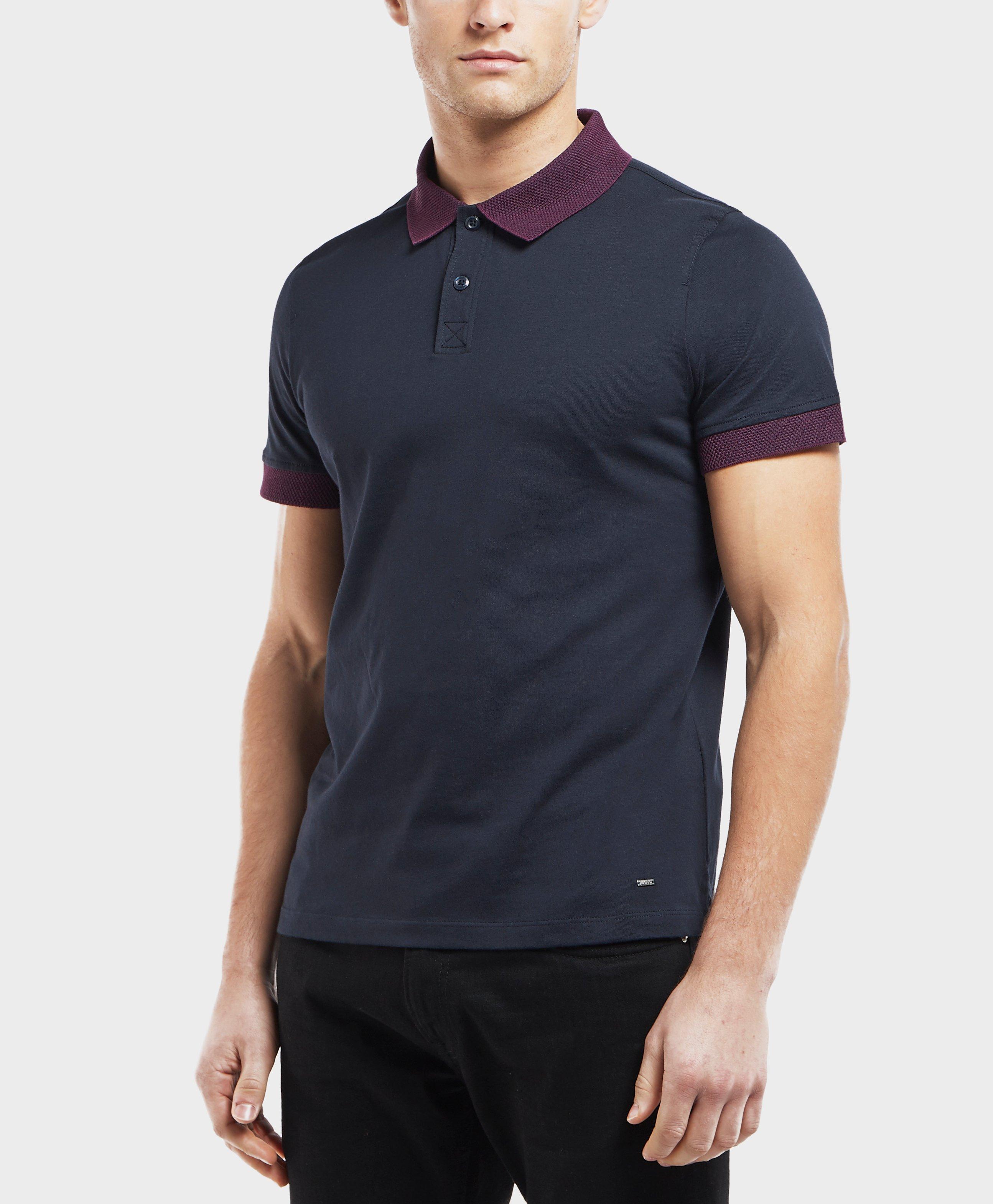 373942db9 Boss Contrast Collar Short Sleeve Polo Shirt in Blue for Men - Lyst