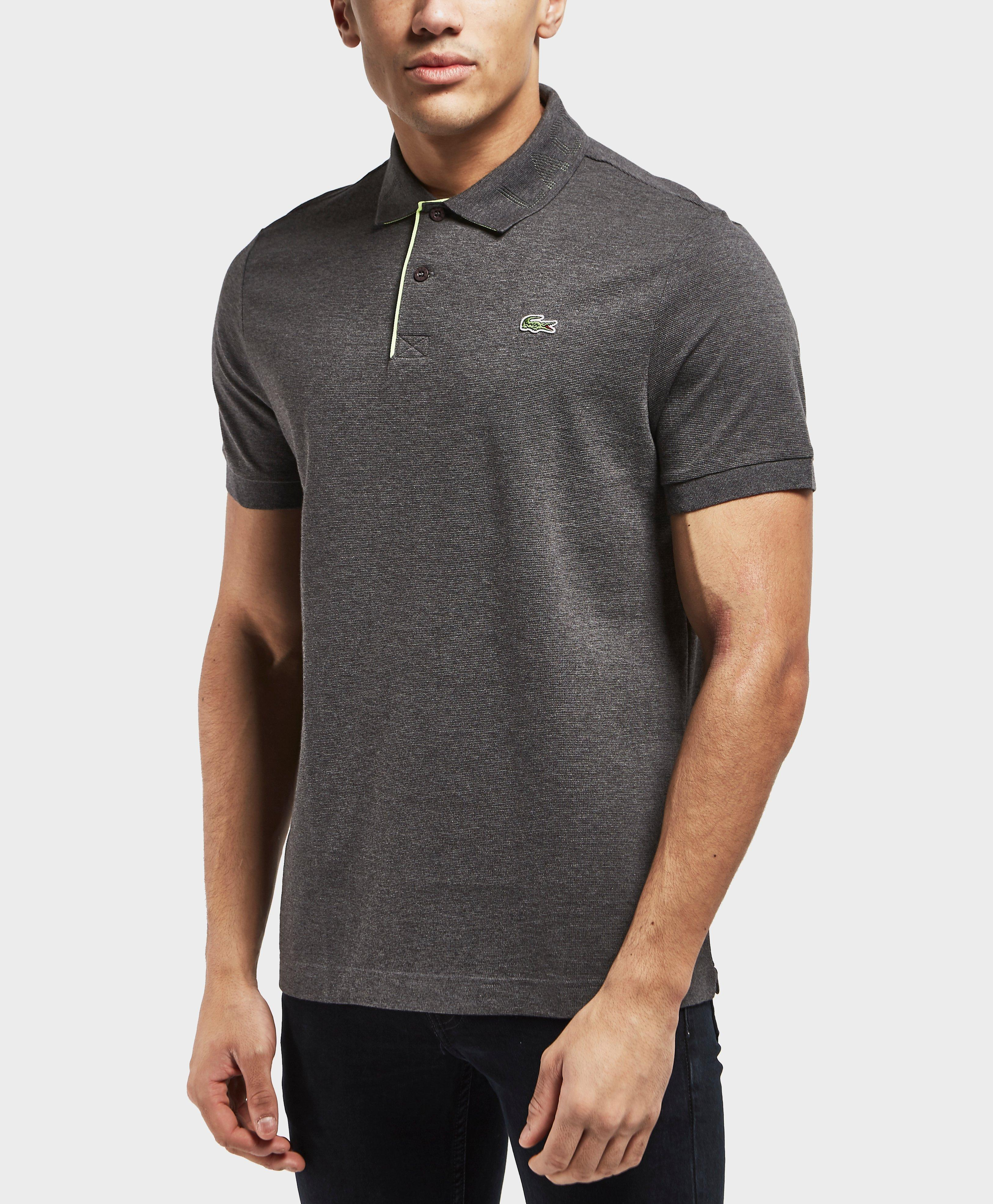 Lyst lacoste logo collar short sleeve polo shirt in gray for Short sleeve lacoste shirt
