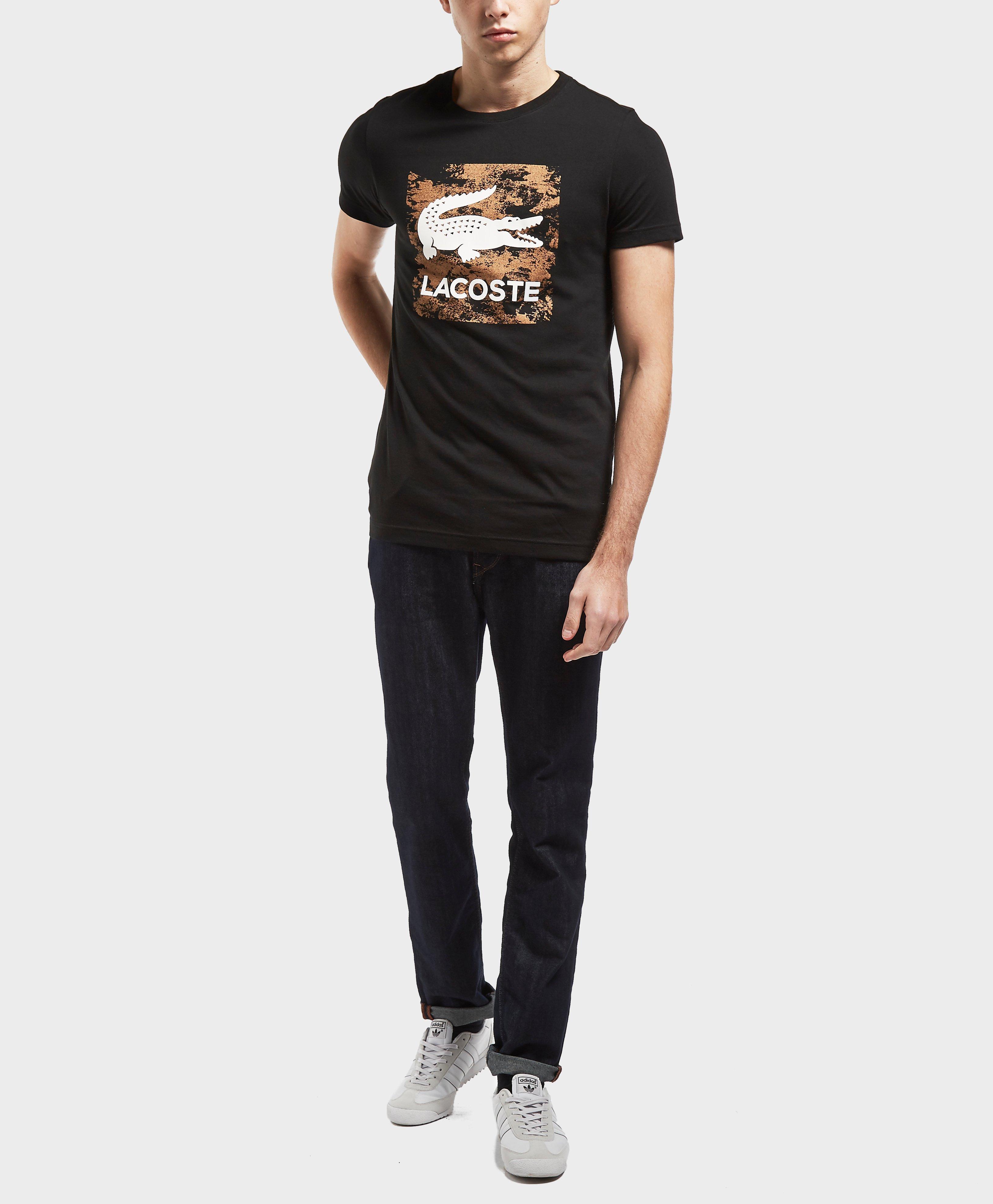 lacoste square logo short sleeve t shirt in black for men. Black Bedroom Furniture Sets. Home Design Ideas