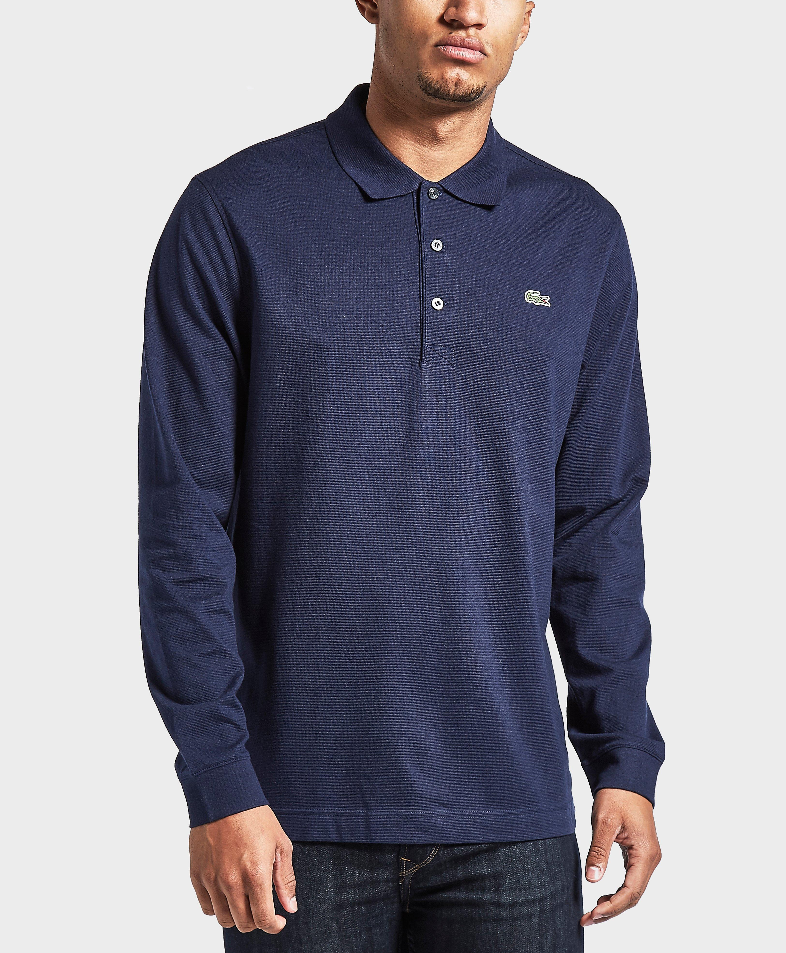 Lyst lacoste long sleeve polo shirt in blue for men for Polo shirts long sleeve men