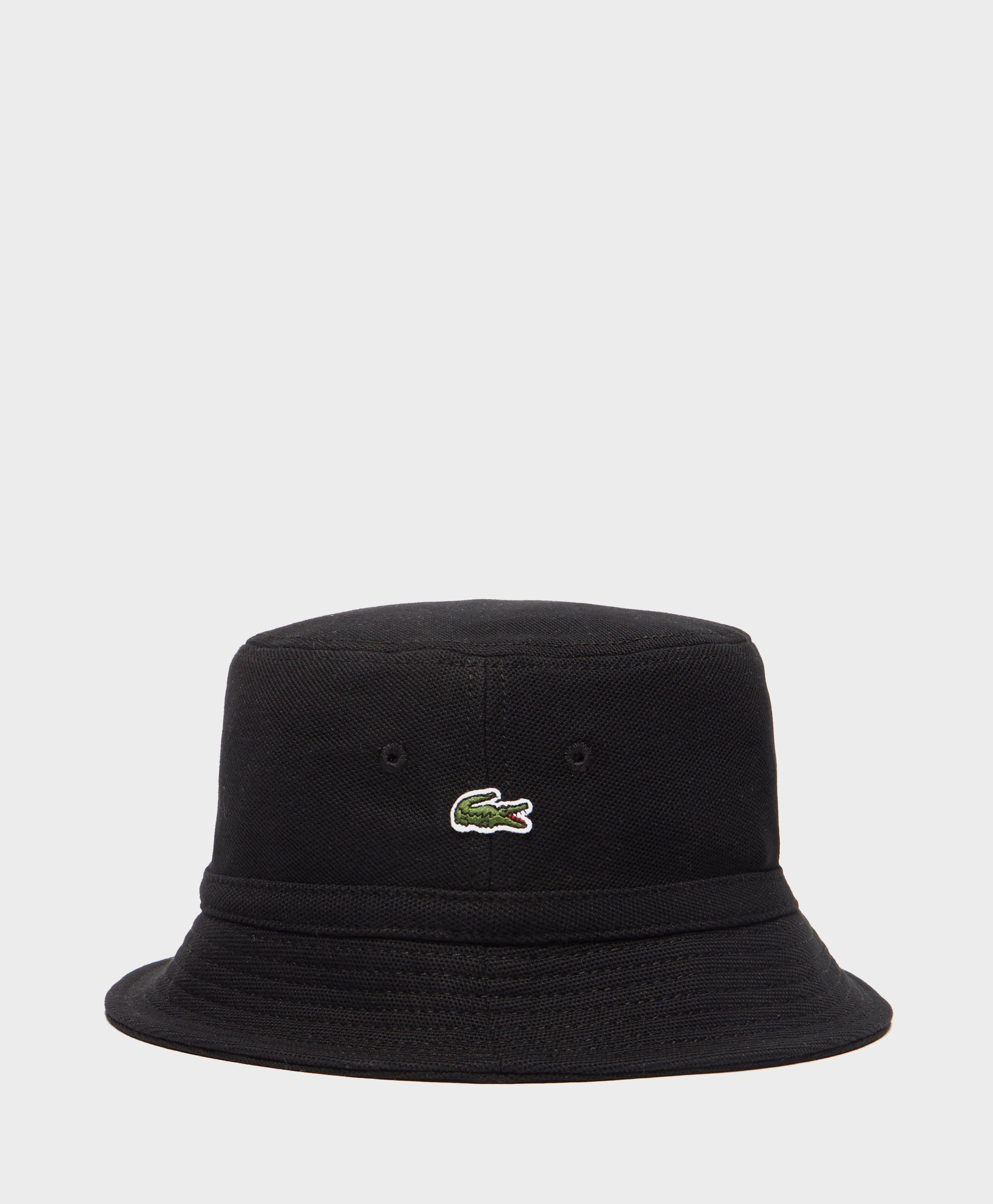 7e5e4400707b Lacoste Pique Bucket Hat in Black for Men - Lyst