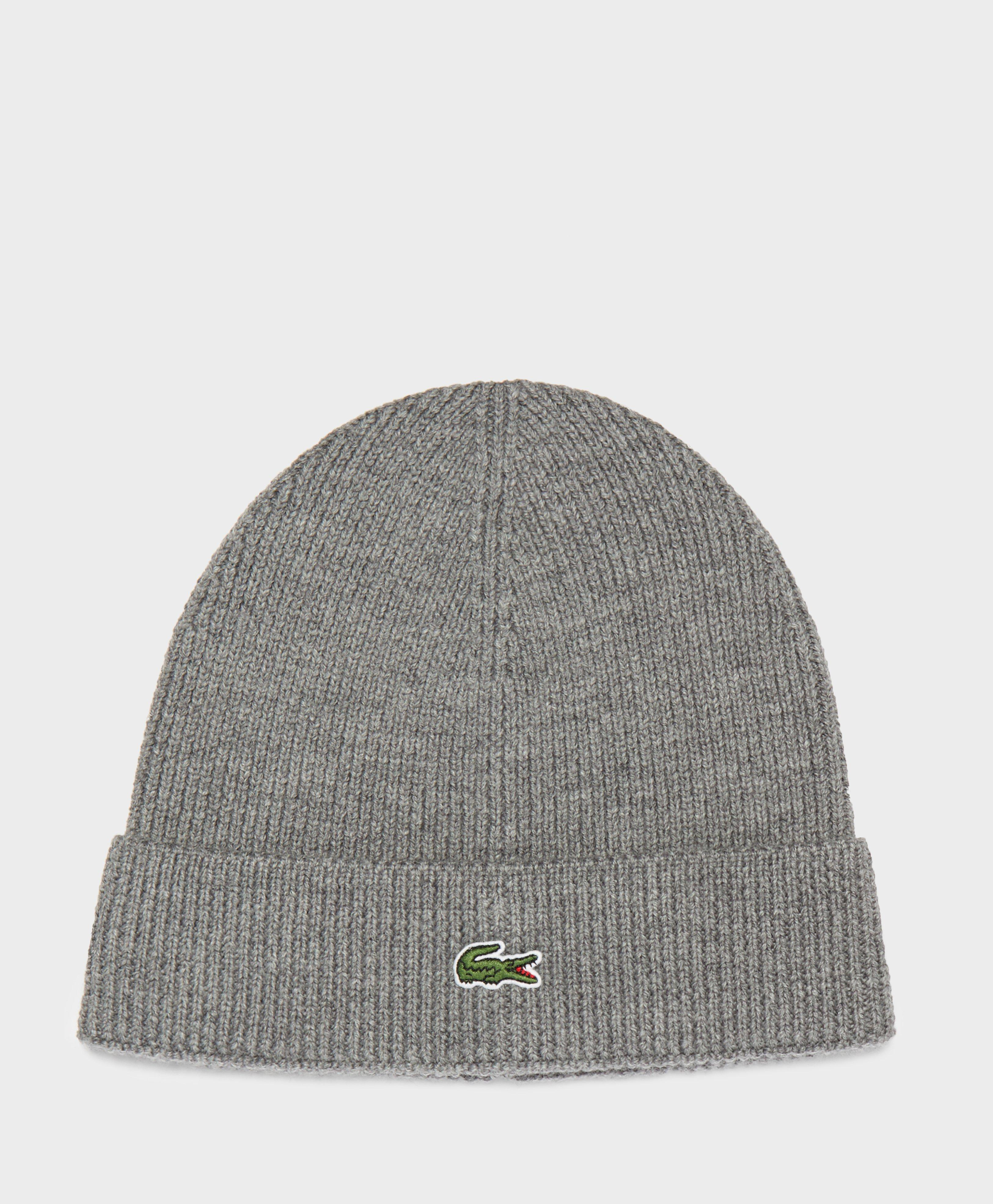 Lyst - Lacoste Ribbed Beanie in Gray for Men cd36f9a336f9