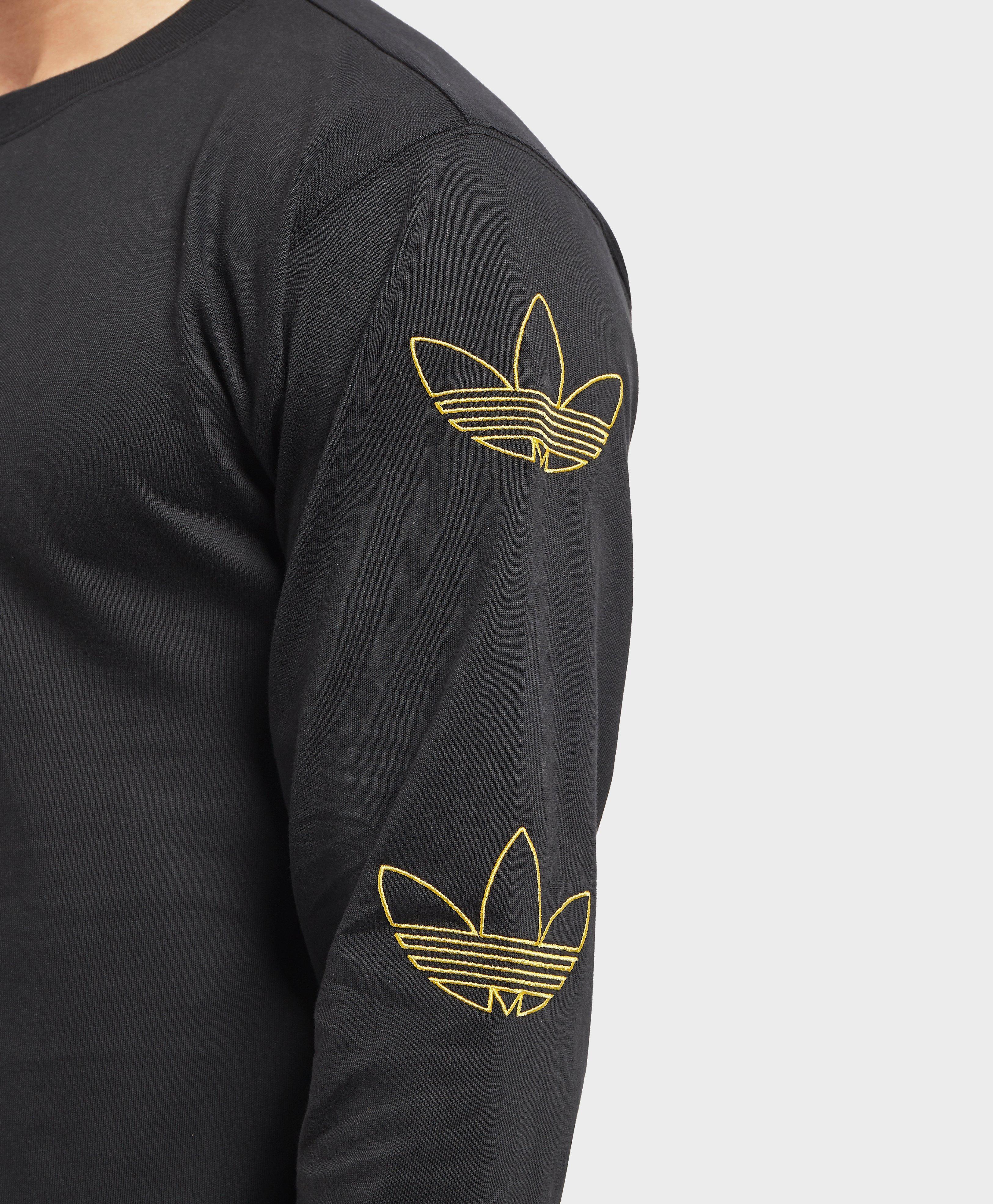 brand new d5965 f920d Adidas Originals - Black Trefoil Stack Long Sleeve T-shirt for Men - Lyst.  View fullscreen