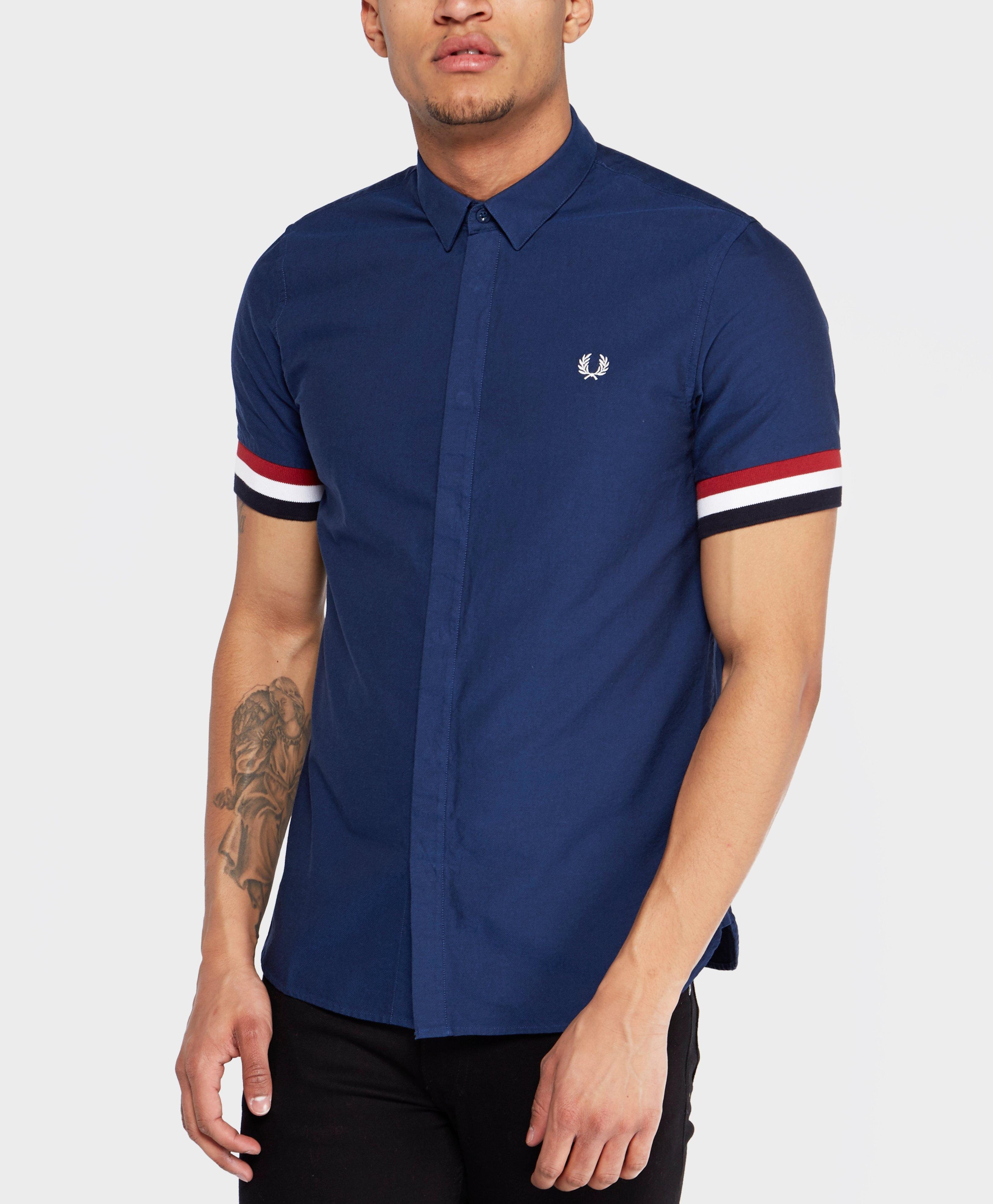 Lyst Fred Perry Striped Cuff Shirt In Blue For Men